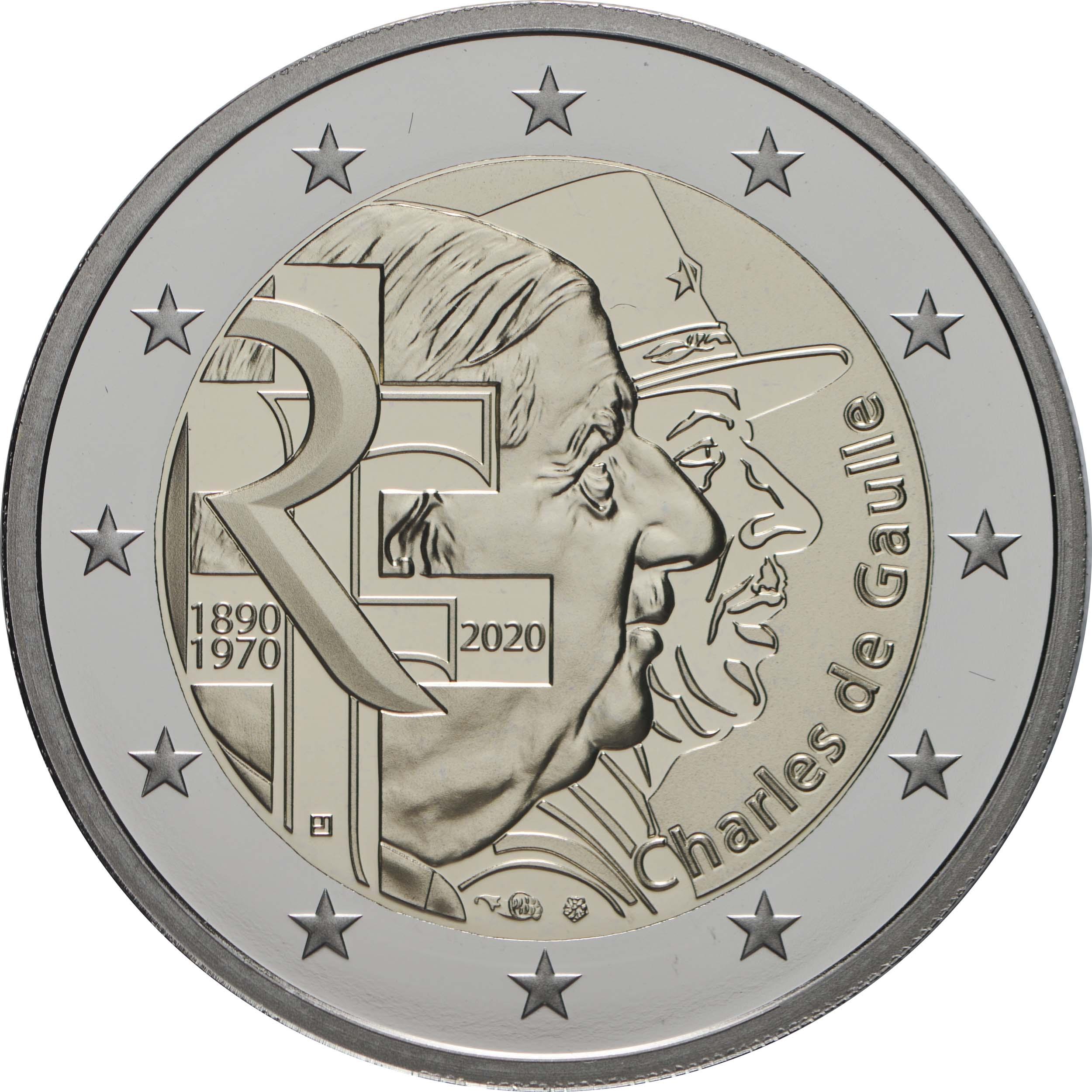 Rückseite:Frankreich : 2 Euro Charles de Gaulle  2020 PP