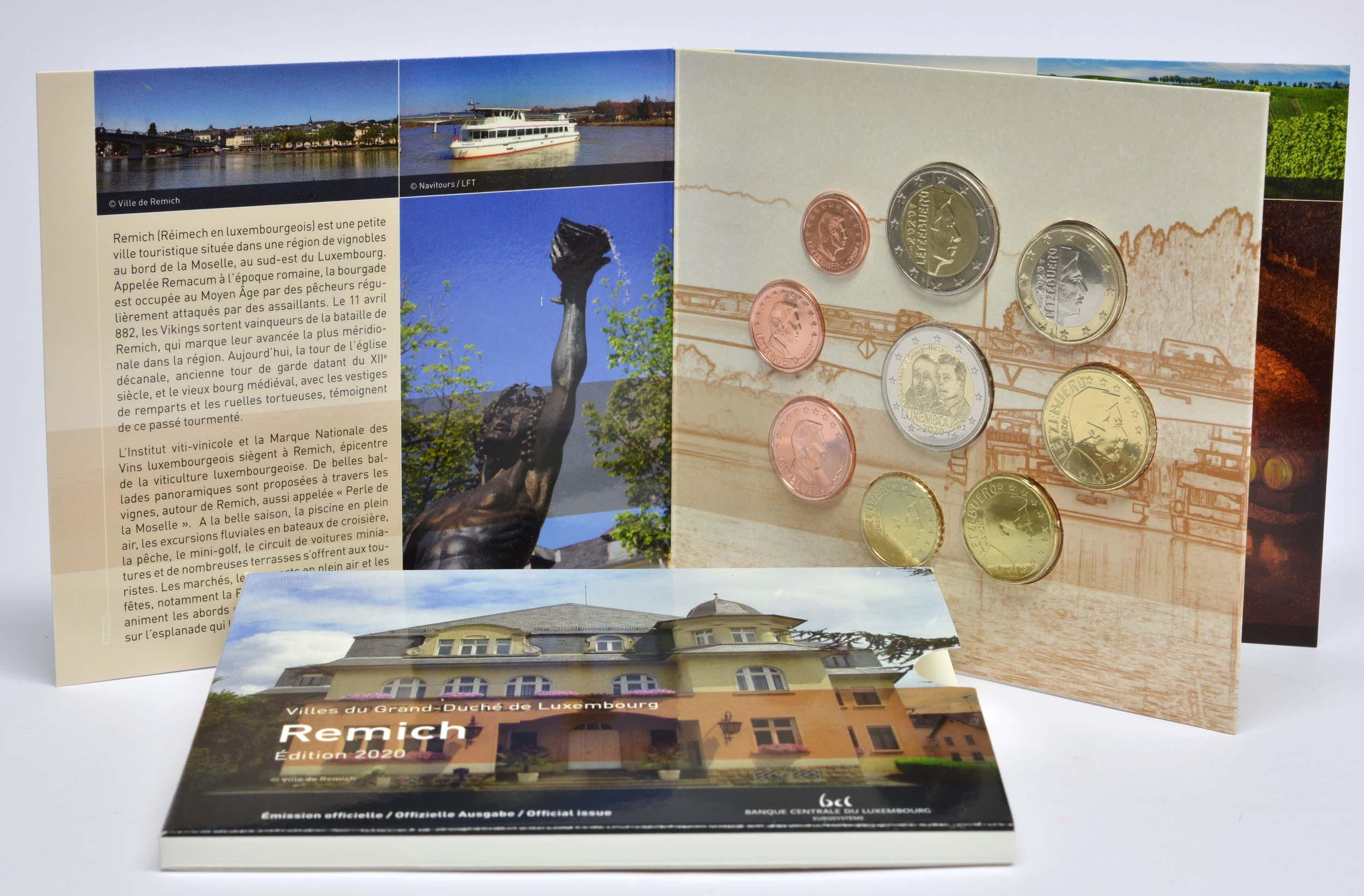Lieferumfang:Luxemburg : 5,88 Euro KMS Luxemburg Stadt Remich  inkl. 2 Euro Gedenkmünze Münzzeichen Brücke   2020 Stgl.