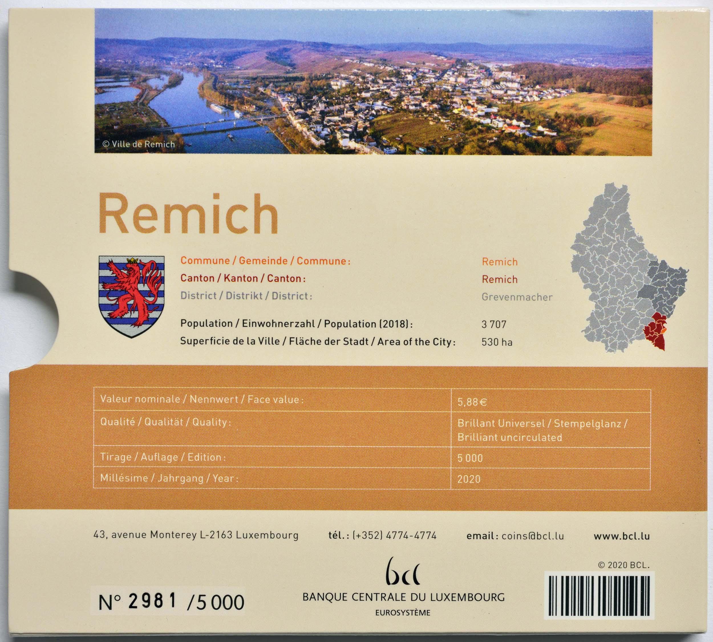 Zertifikat:Luxemburg : 5,88 Euro KMS Luxemburg Stadt Remich  inkl. 2 Euro Gedenkmünze Münzzeichen Brücke   2020 Stgl.