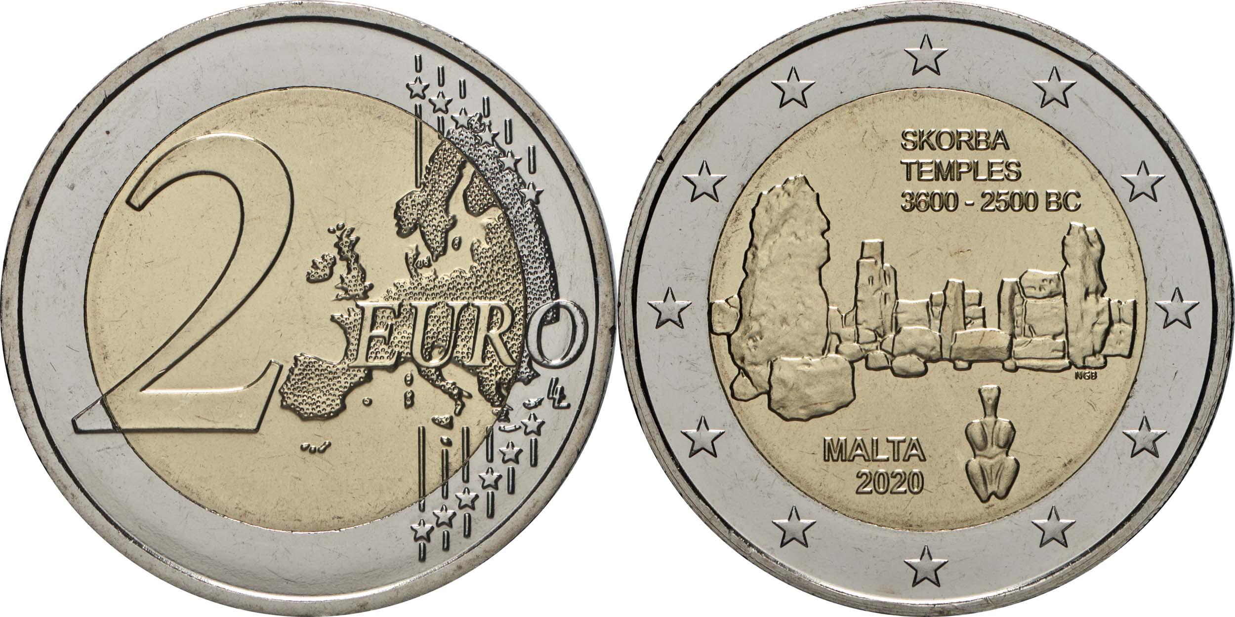 Lieferumfang:Malta : 2 Euro Tempel von Skorba  2020 bfr