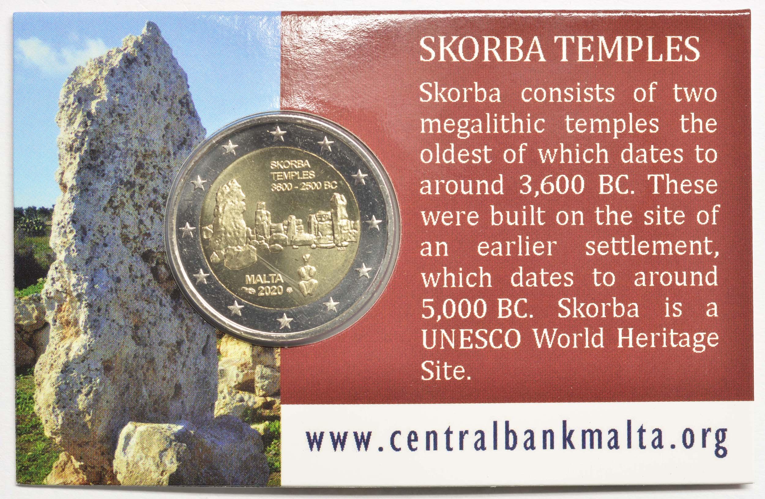 Zertifikat:Malta : 2 Euro Tempel von Skorba  2020 Stgl.