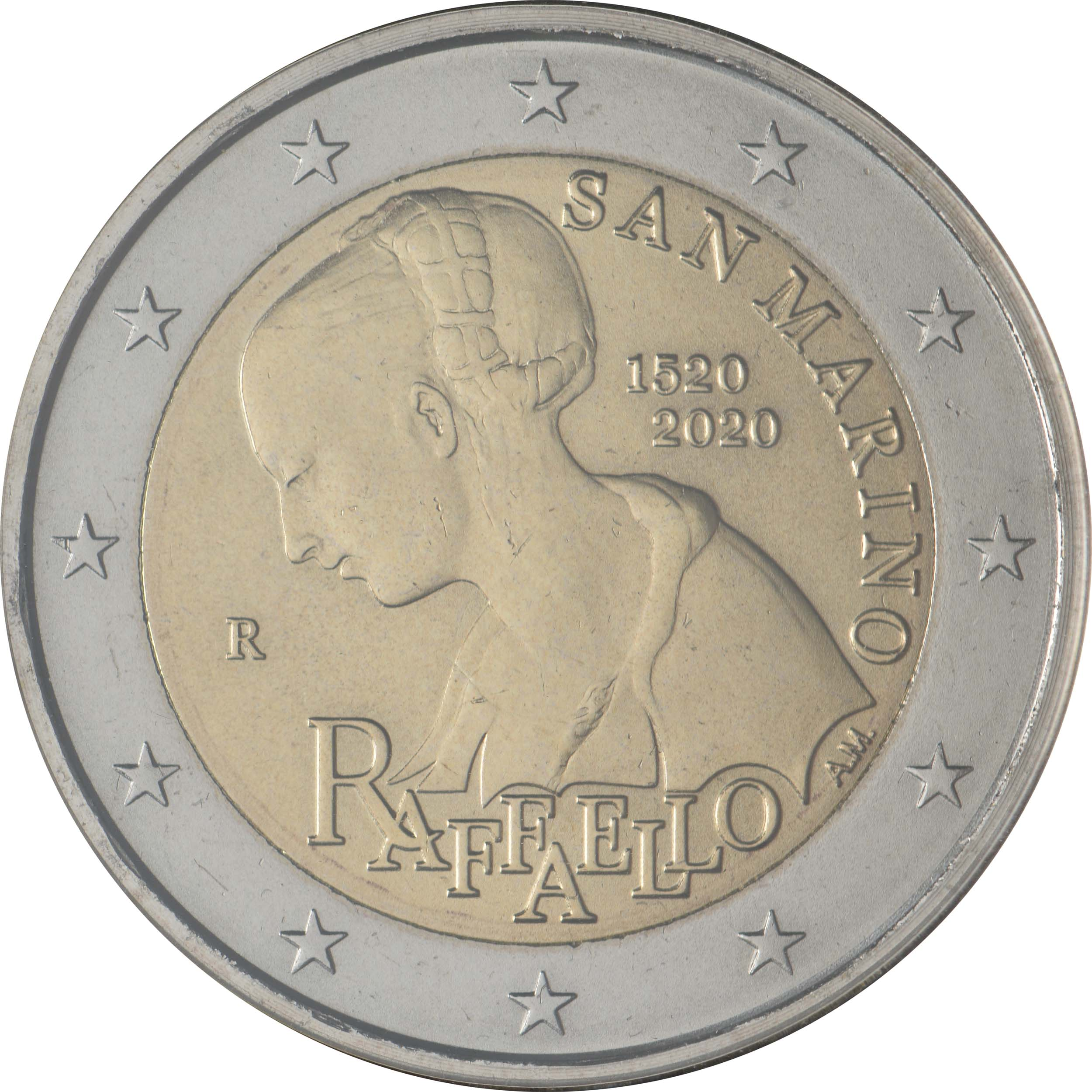 Rückseite:San Marino : 2 Euro 500. Todestag von Raffael  2020 Stgl.
