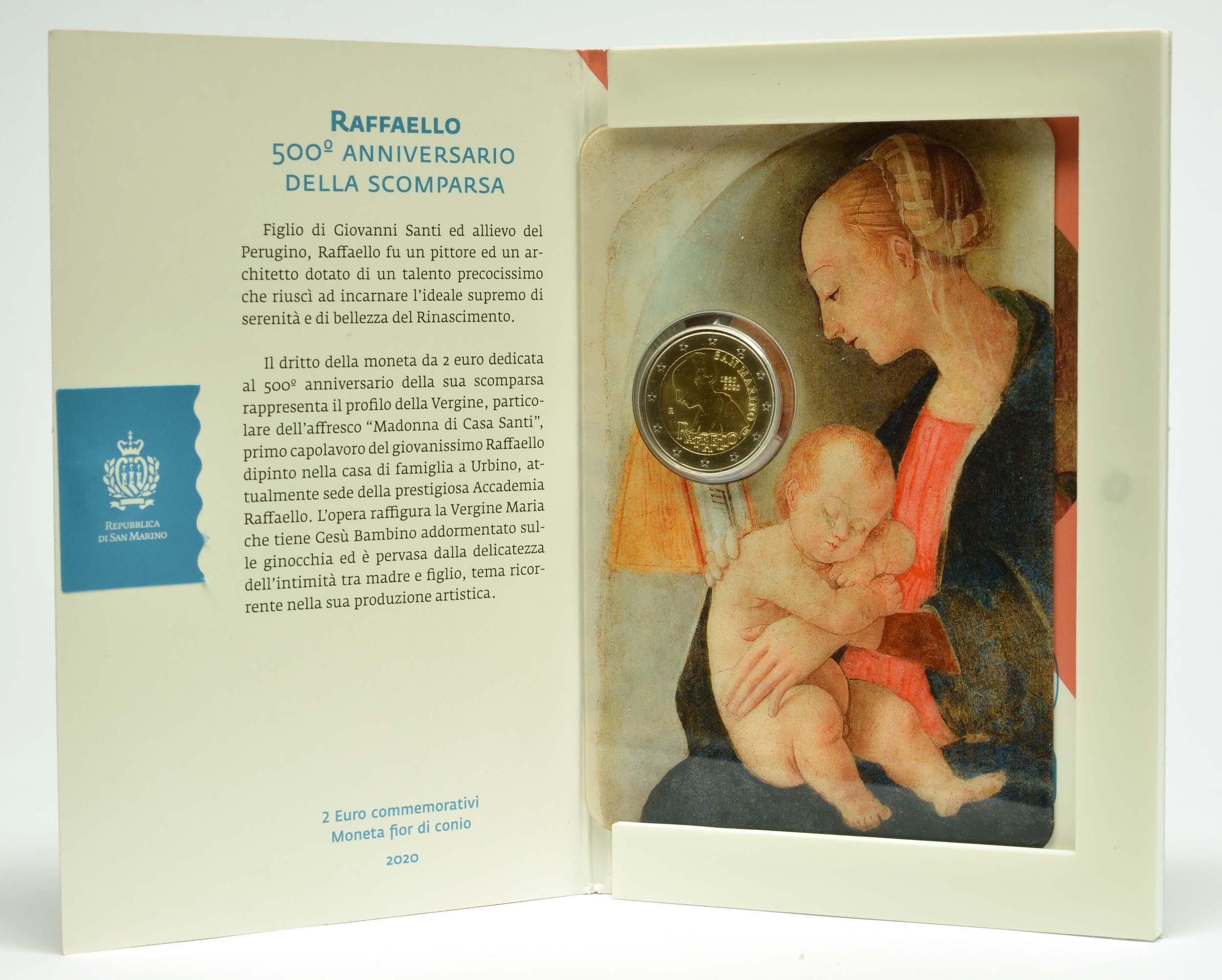 Lieferumfang:San Marino : 2 Euro 500. Todestag von Raffael  2020 Stgl.