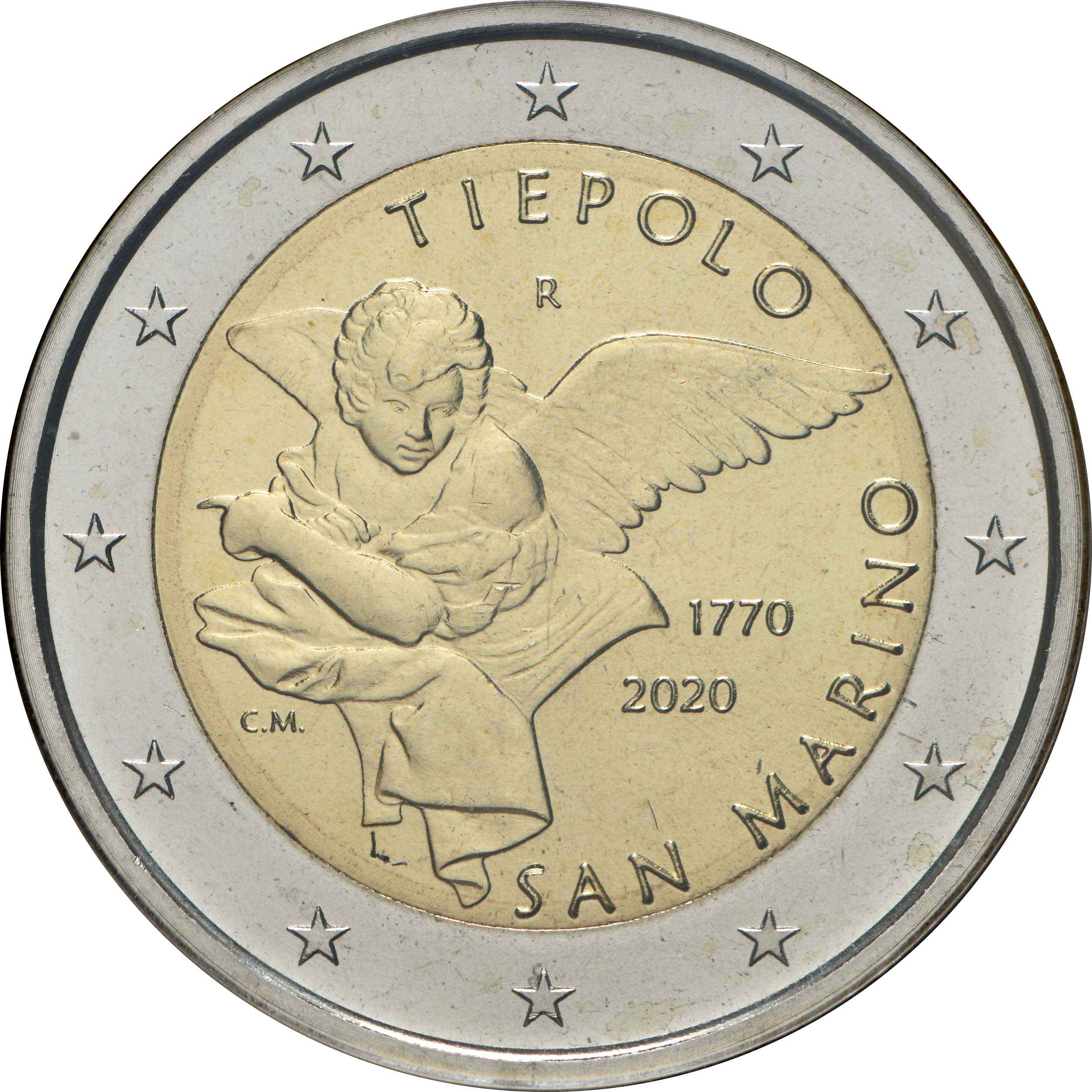 Rückseite:San Marino : 2 Euro 250. Todestag von Giovanni Battista Tiepolo  2020 Stgl.
