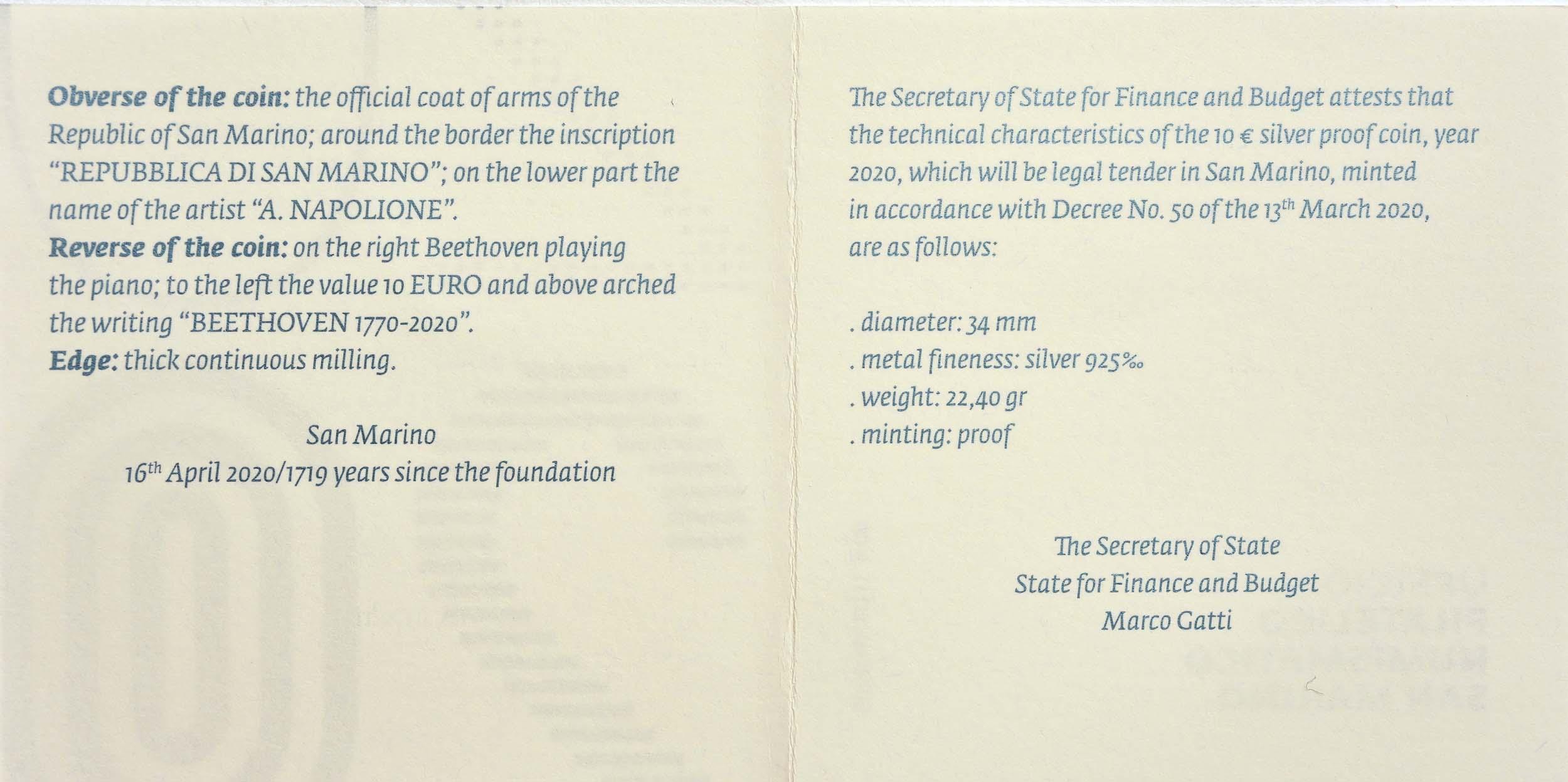 Zertifikat:San Marino : 10 Euro 250. Jahrestag der Geburt von Ludwig van Beethoven  2020 PP