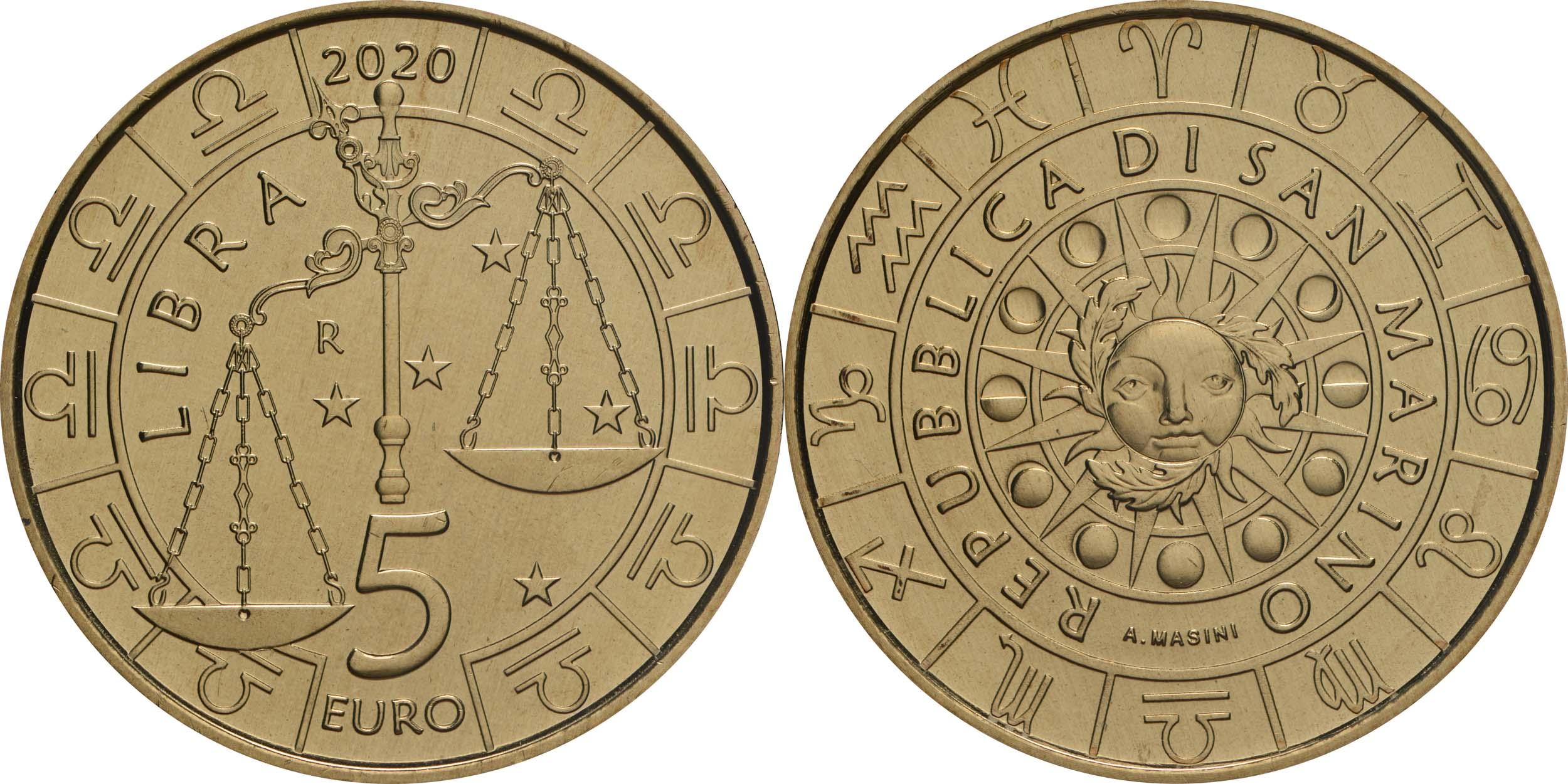 Lieferumfang:San Marino : 5 Euro Waage  2020 Stgl.