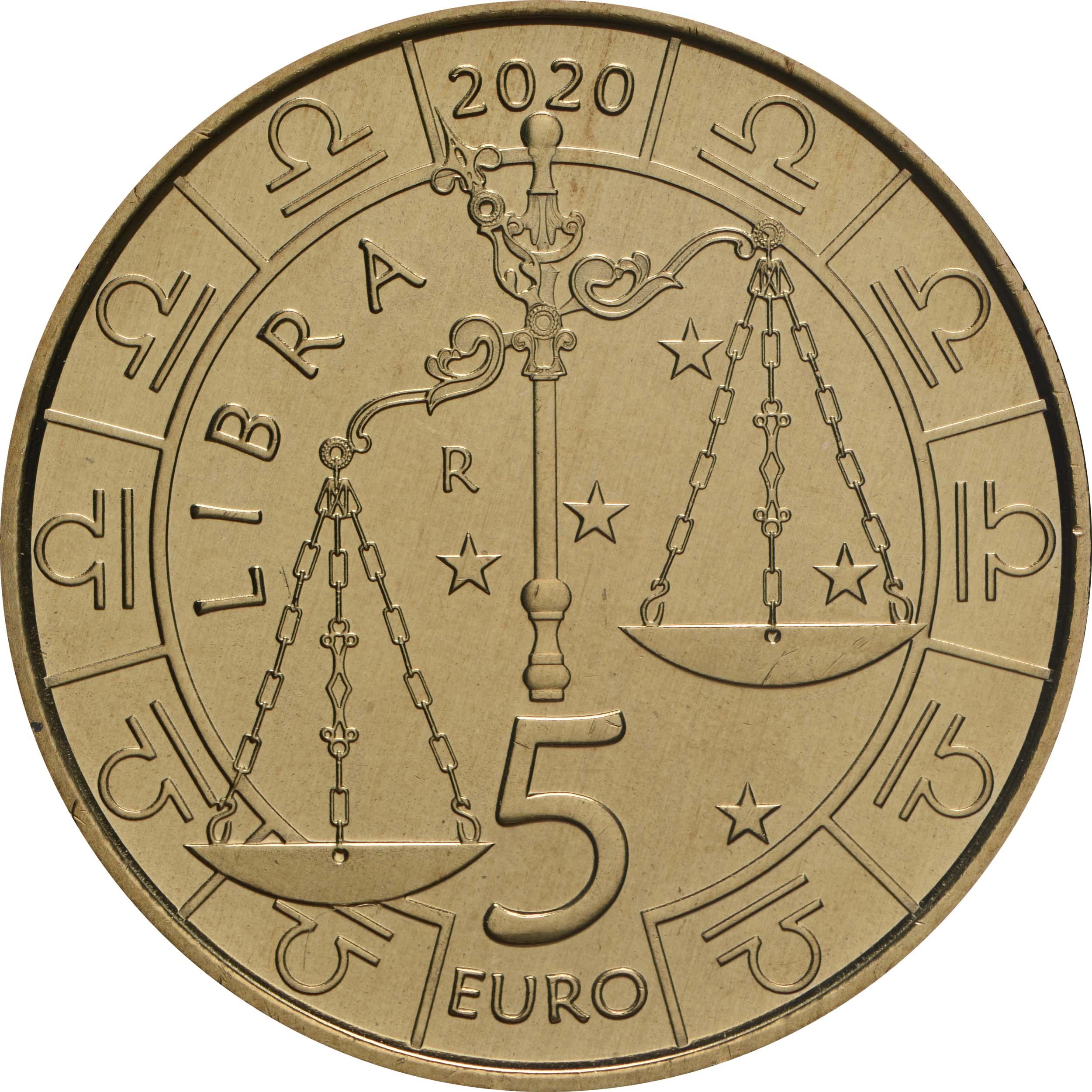 Vorderseite:San Marino : 5 Euro Waage  2020 Stgl.