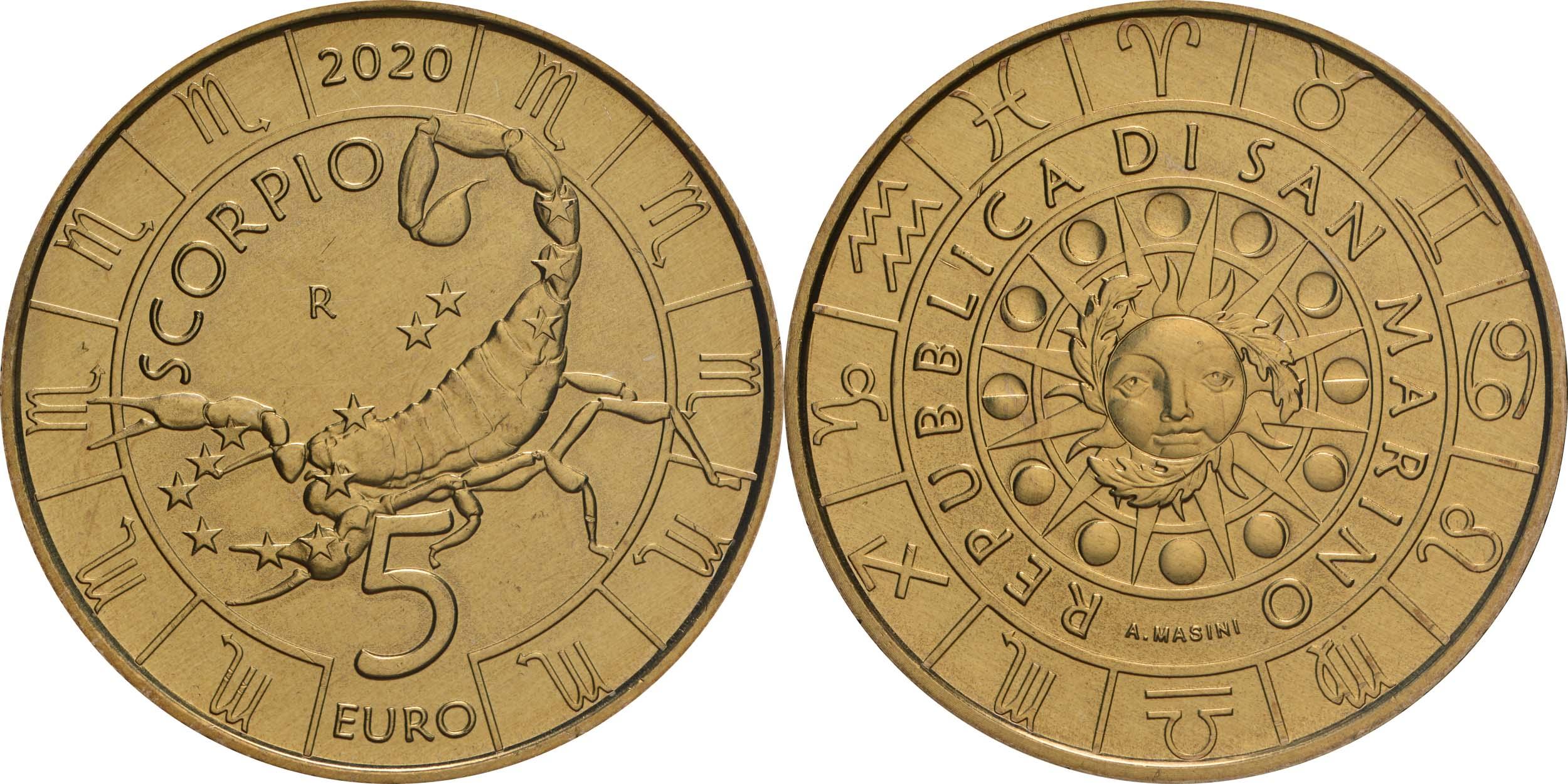 Lieferumfang:San Marino : 5 Euro Skorpion  2020 Stgl.