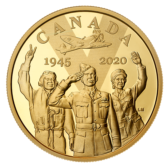Vorderseite:Kanada : 100 Dollar 75 Jahre Ende WW2 – VE Day  2020 PP
