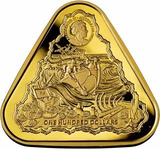 Vorderseite:Australien : 100 Dollar Segelschiff Gilt Dragon - Dreiecksmünze 1 oz  2020 Stgl.