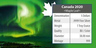 Zertifikat:Kanada : 5 Dollar Maple Leaf - Nordlichter Yellowknife Yukon  #2  2020 Stgl.