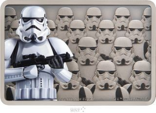 Vorderseite:Niue : 2 Dollar Stormtrooper-Star Wars/Guards of the Empire  2020 Stgl.
