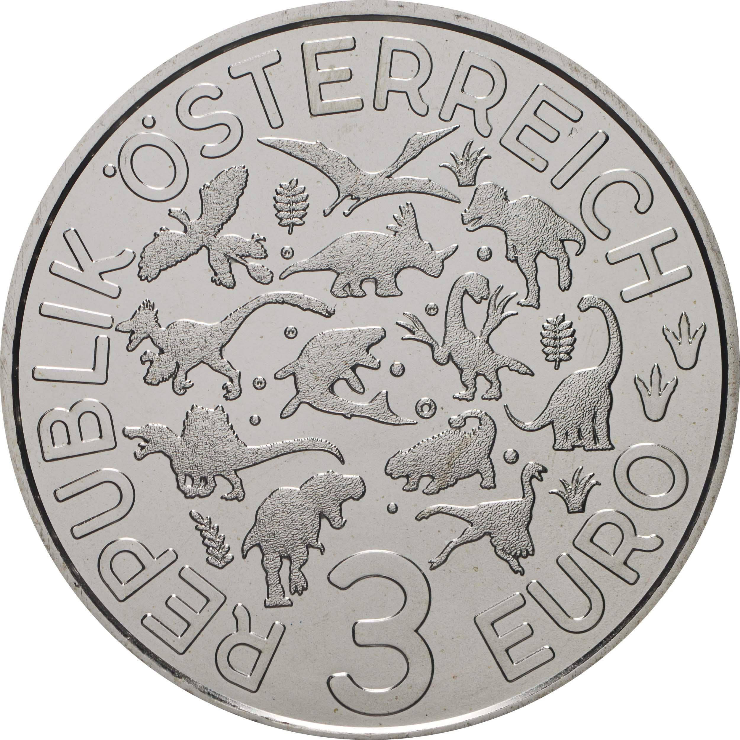 Rückseite:Österreich : 3 Euro Mosasaurus hoffmanni - der größte Meeressaurier #2  2020 Stgl.