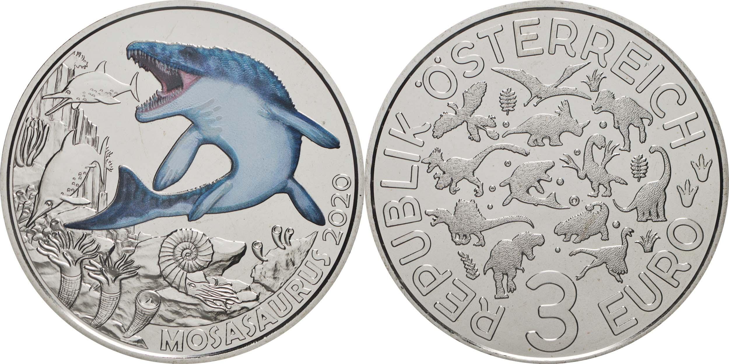 Lieferumfang:Österreich : 3 Euro Mosasaurus hoffmanni - der größte Meeressaurier #2  2020 Stgl.
