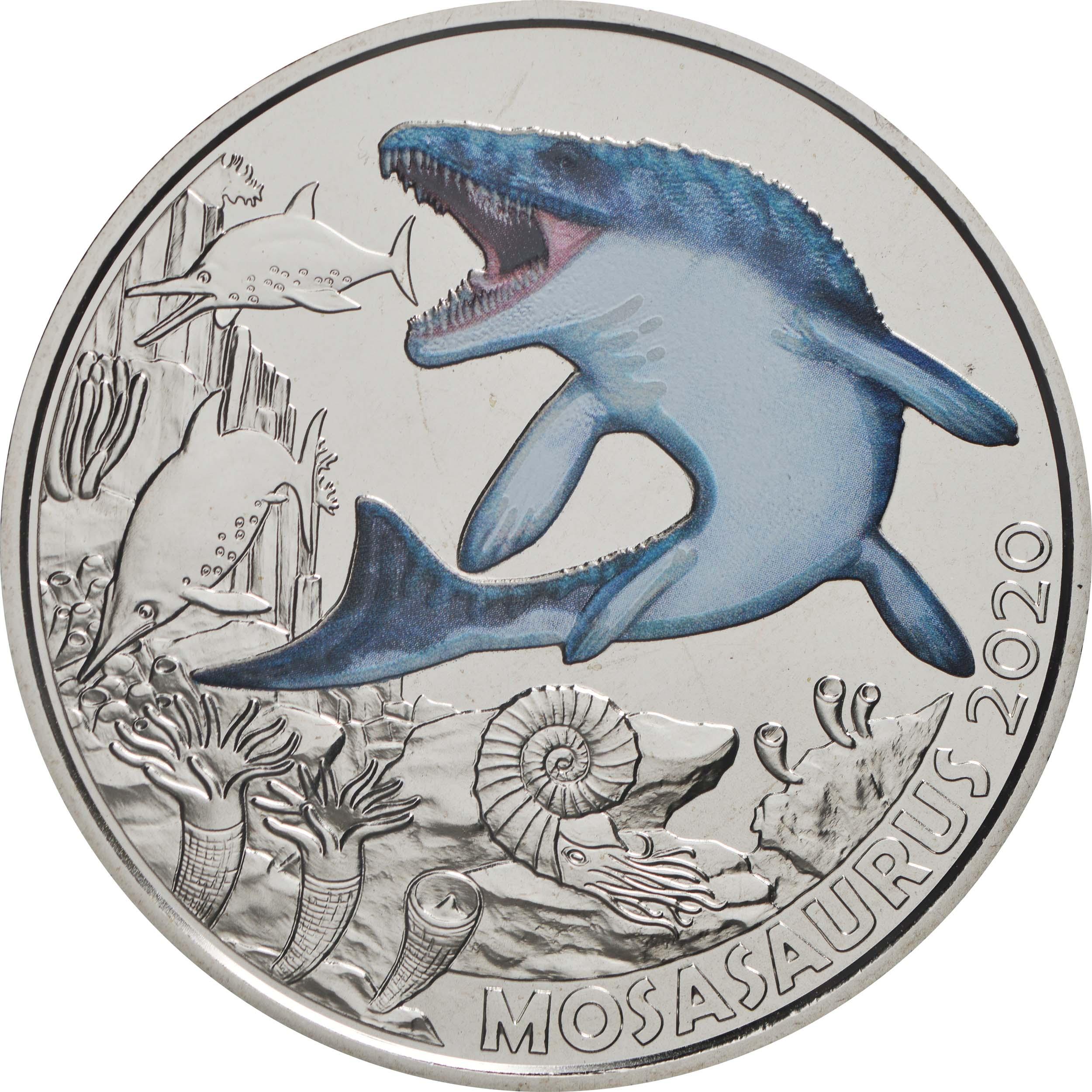 Vorderseite:Österreich : 3 Euro Mosasaurus hoffmanni - der größte Meeressaurier #2  2020 Stgl.