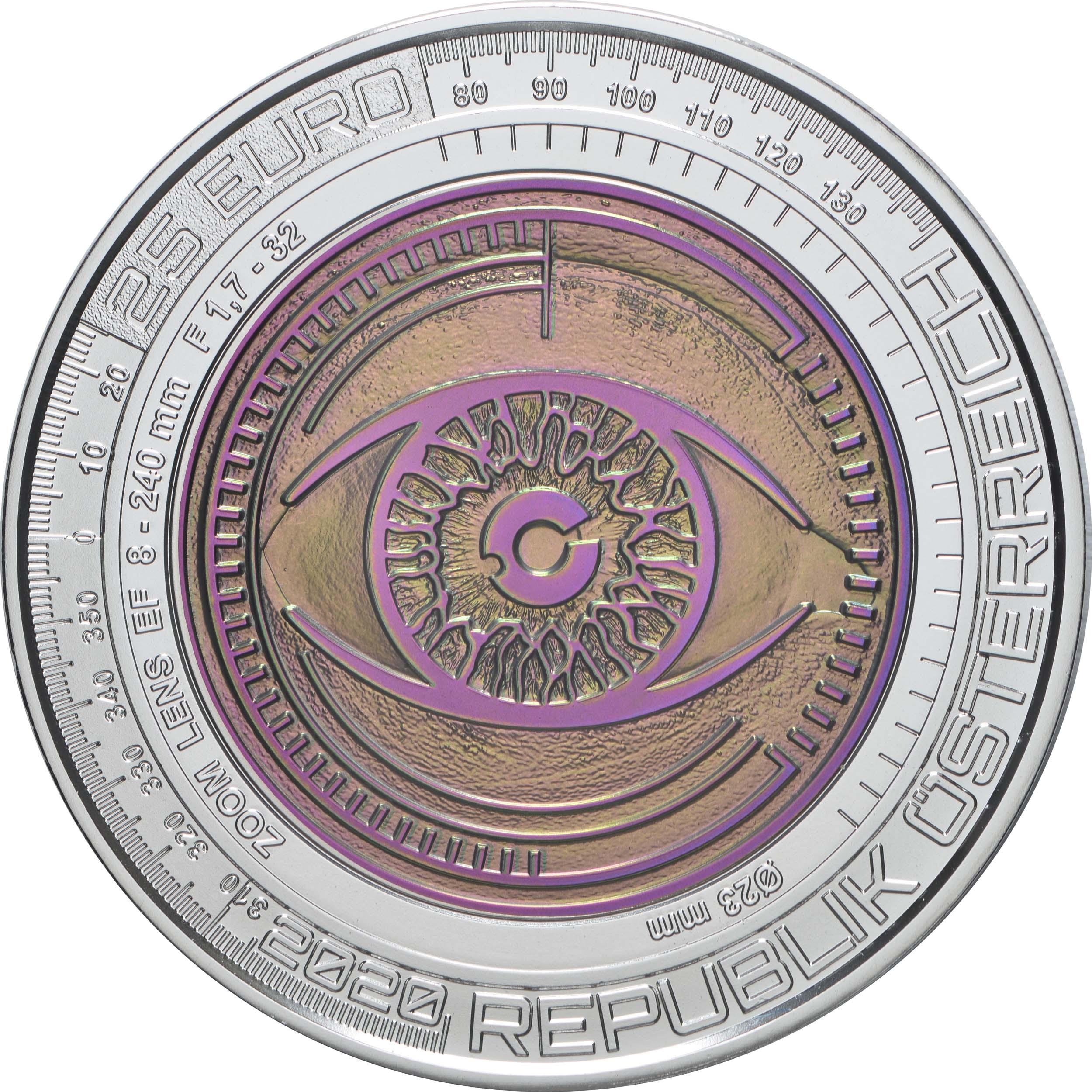 Vorderseite:Österreich : 25 Euro Der gläserne Mensch / Big Data  2020 Stgl.