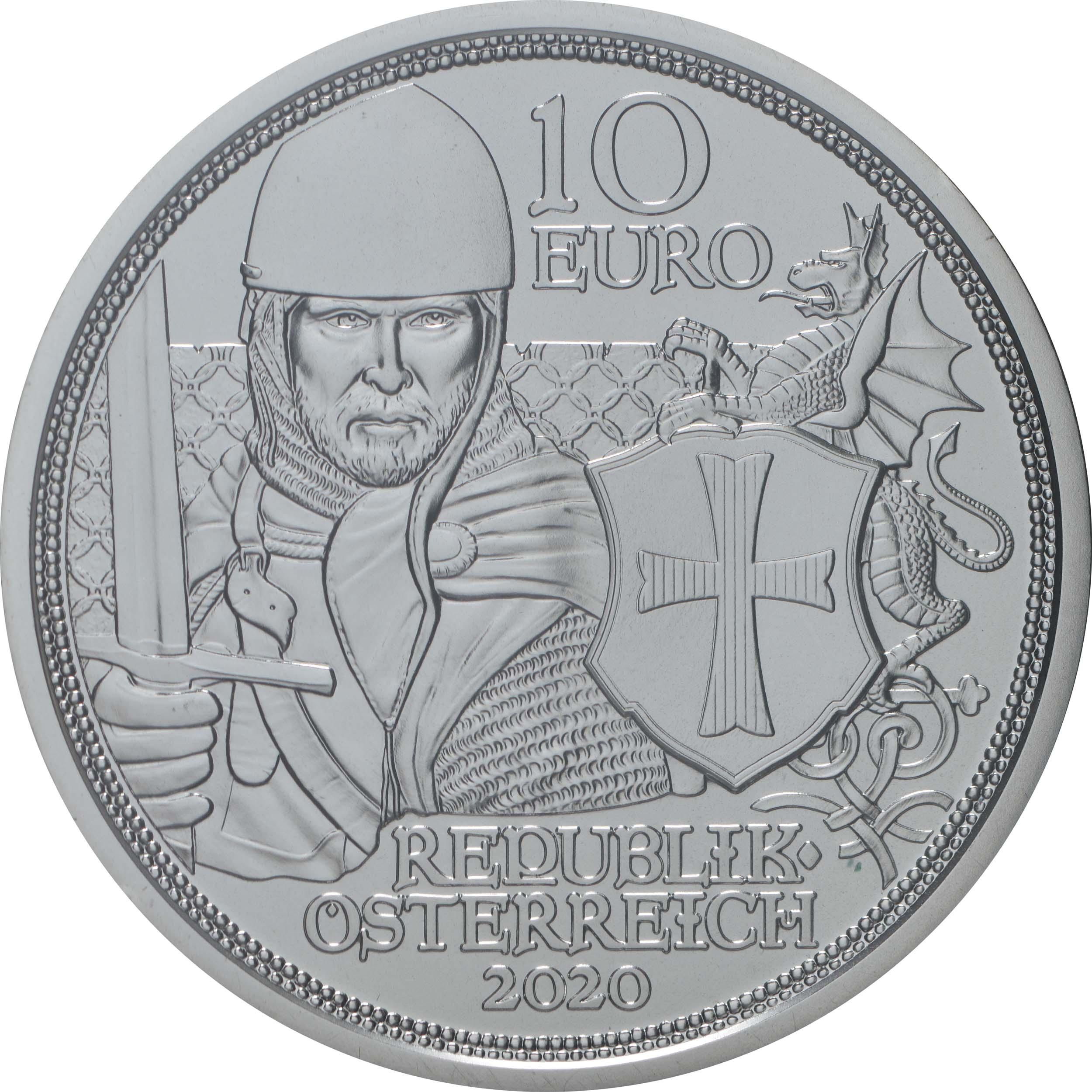 Rückseite:Österreich : 10 Euro Tapferkeit  2020 Stgl.