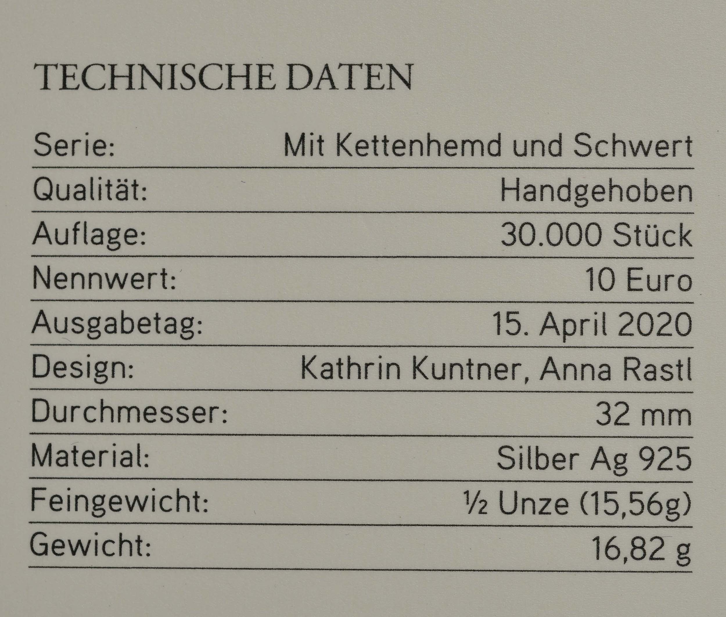 Zertifikat:Österreich : 10 Euro Tapferkeit  2020 Stgl.