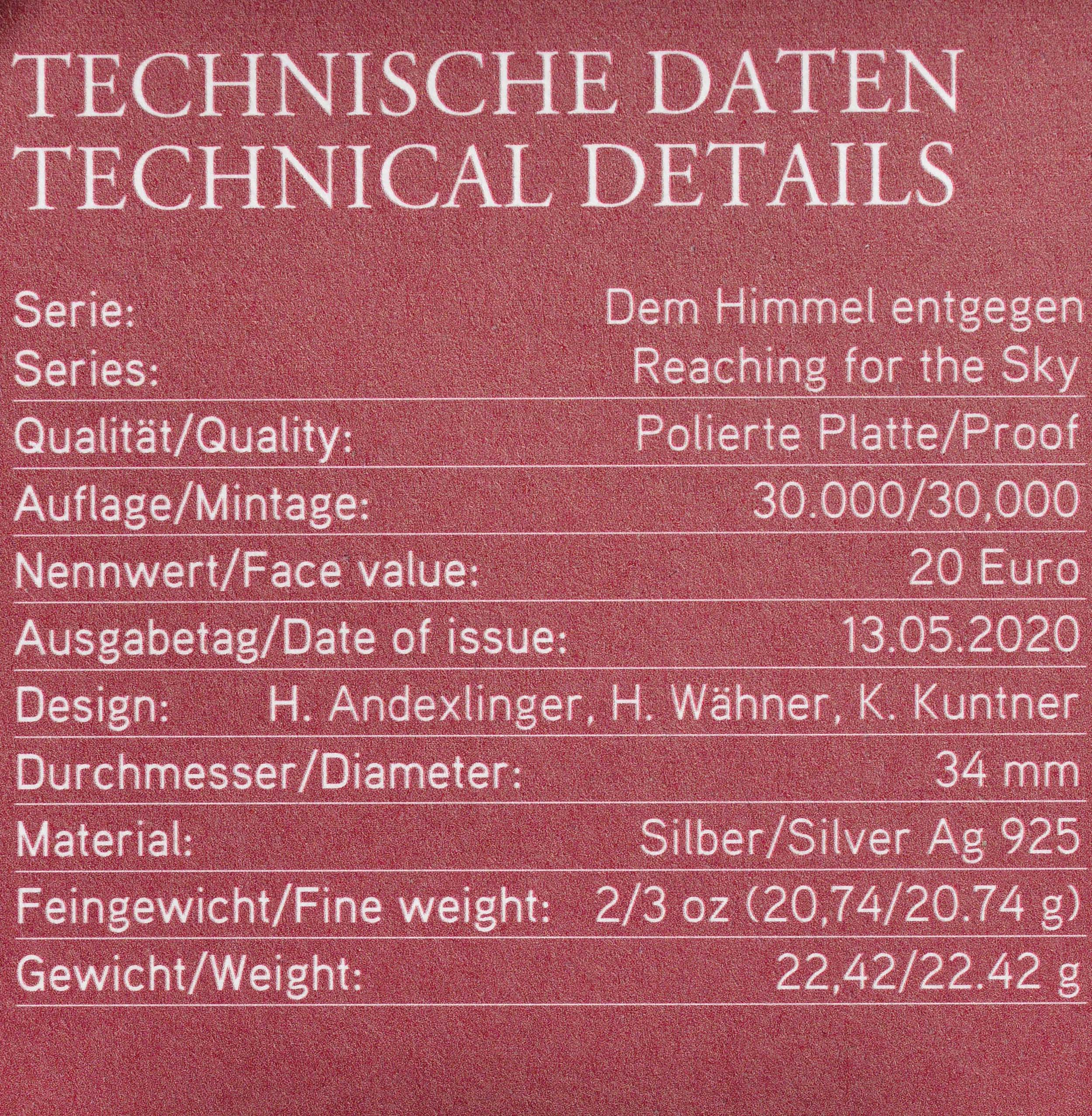 Zertifikat:Österreich : 20 Euro Reisen über den Wolken  2020 PP