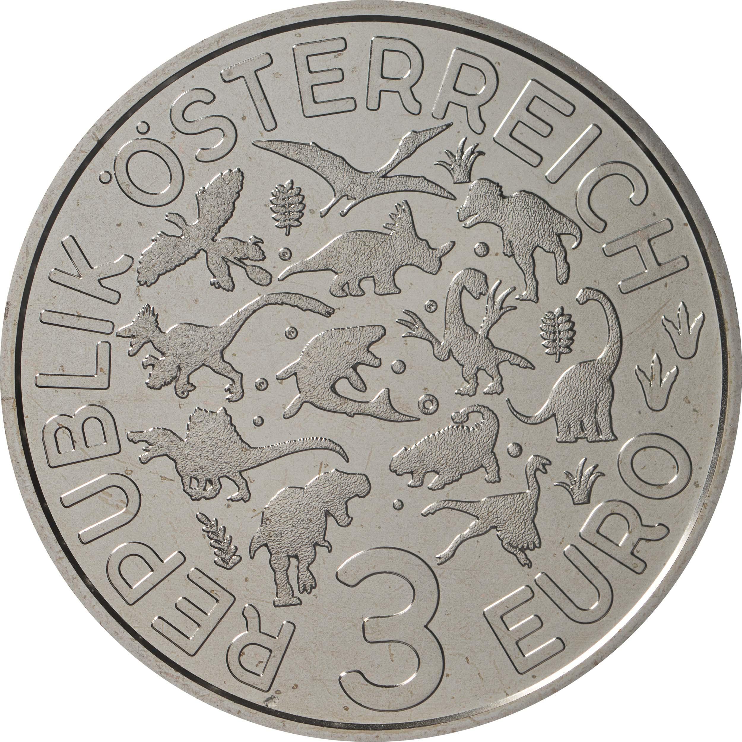 Rückseite:Österreich : 3 Euro Arambourgiania philadelphiae - der größte Flugsaurier  2020 Stgl.