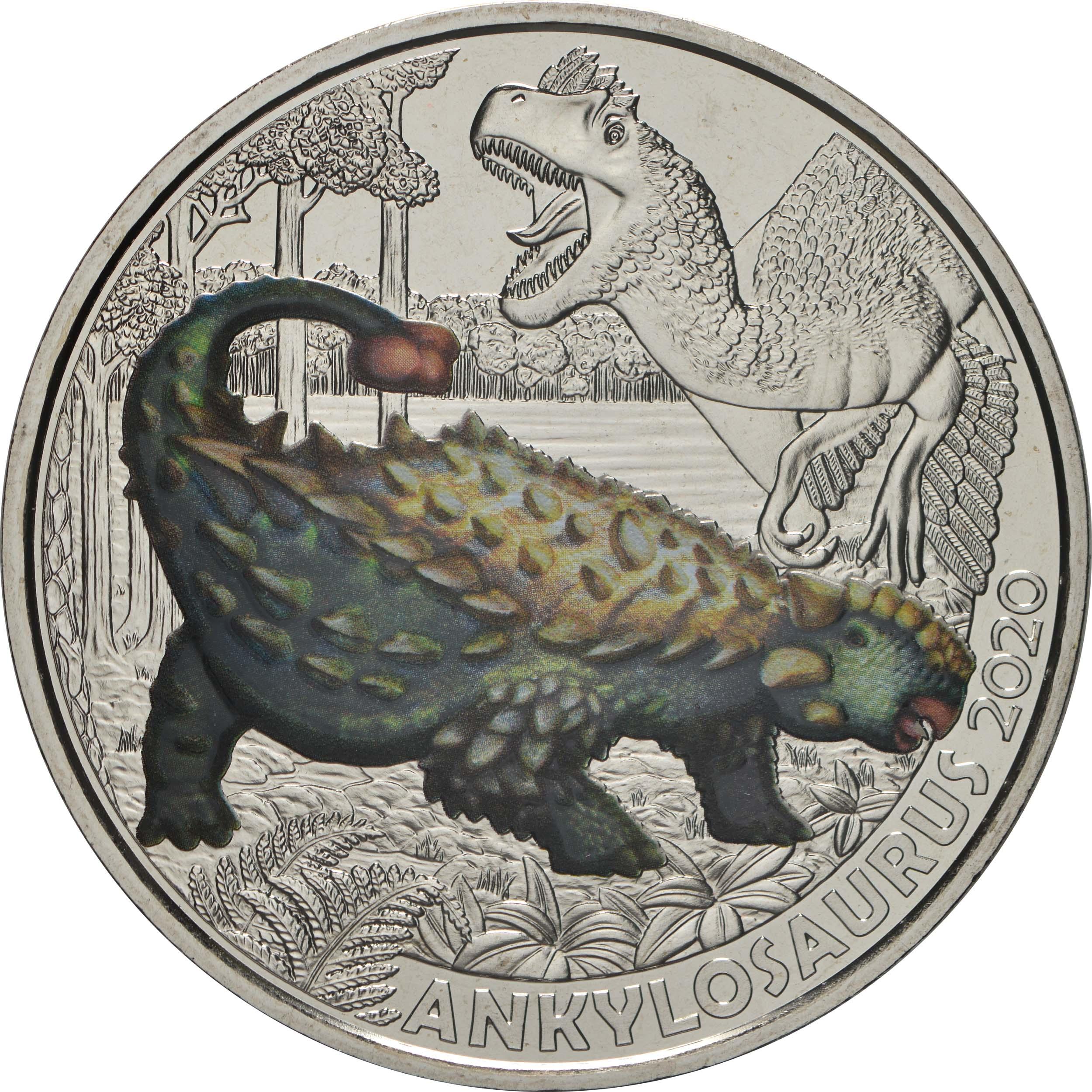 Vorderseite:Österreich : 3 Euro Ankylosaurus magniventris - der härteste Saurier  2020 Stgl.