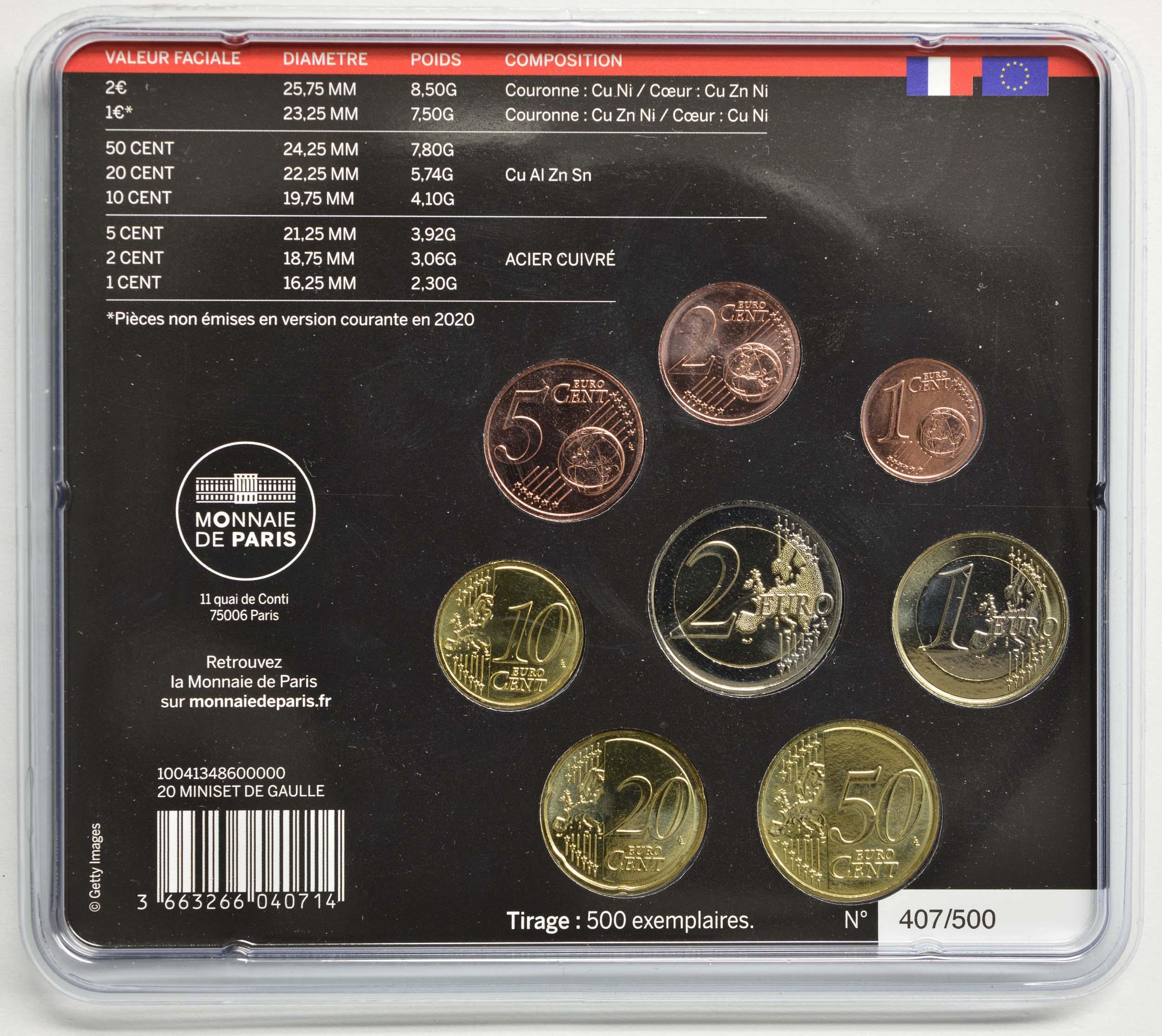Zertifikat:Frankreich : 3,88 Euro Mini KMS Charles de Gaulle  2020 Stgl.