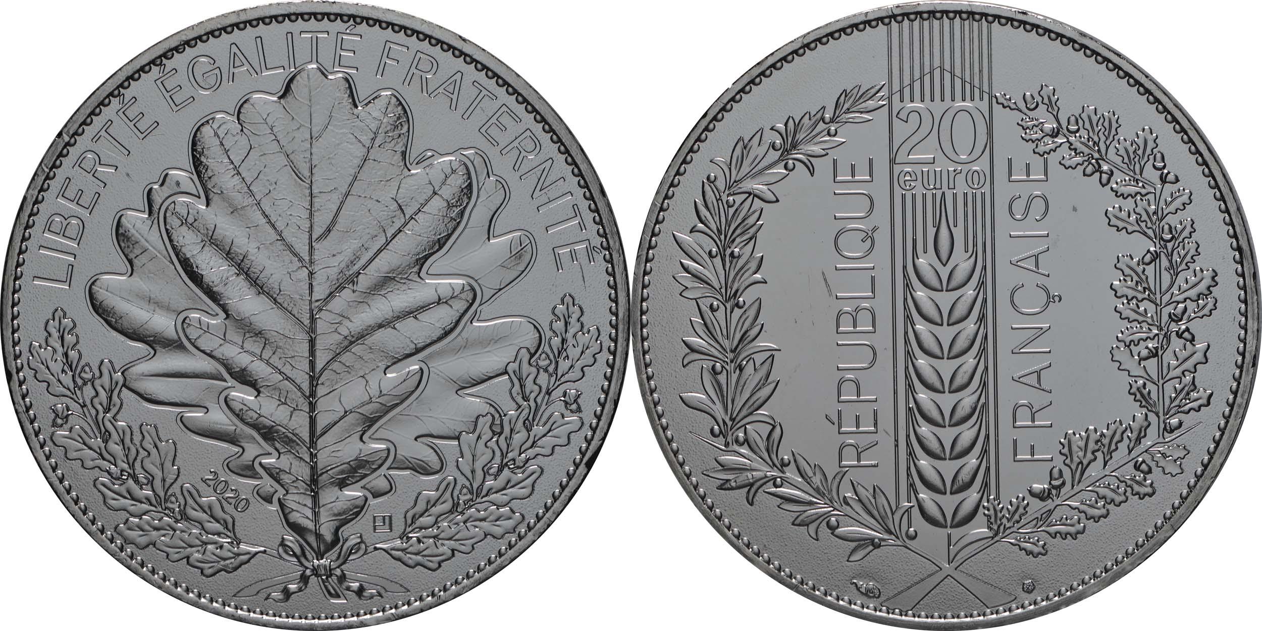 Lieferumfang:Frankreich : 20 Euro Eiche  2020 Stgl.