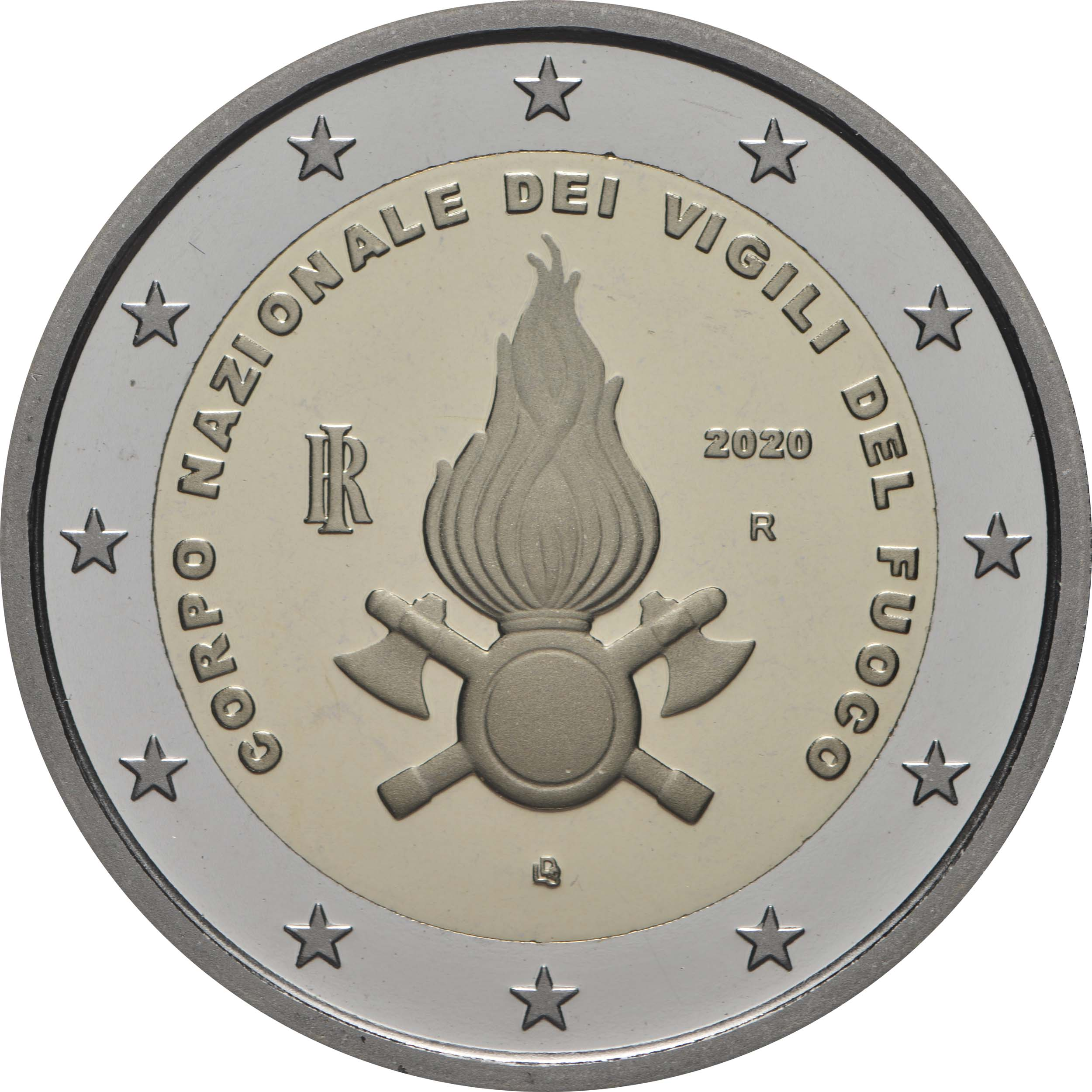 Rückseite:Italien : 2 Euro 80. Jahrestag der Gründung des Nationalen Feuerwehrkorps   2020 PP