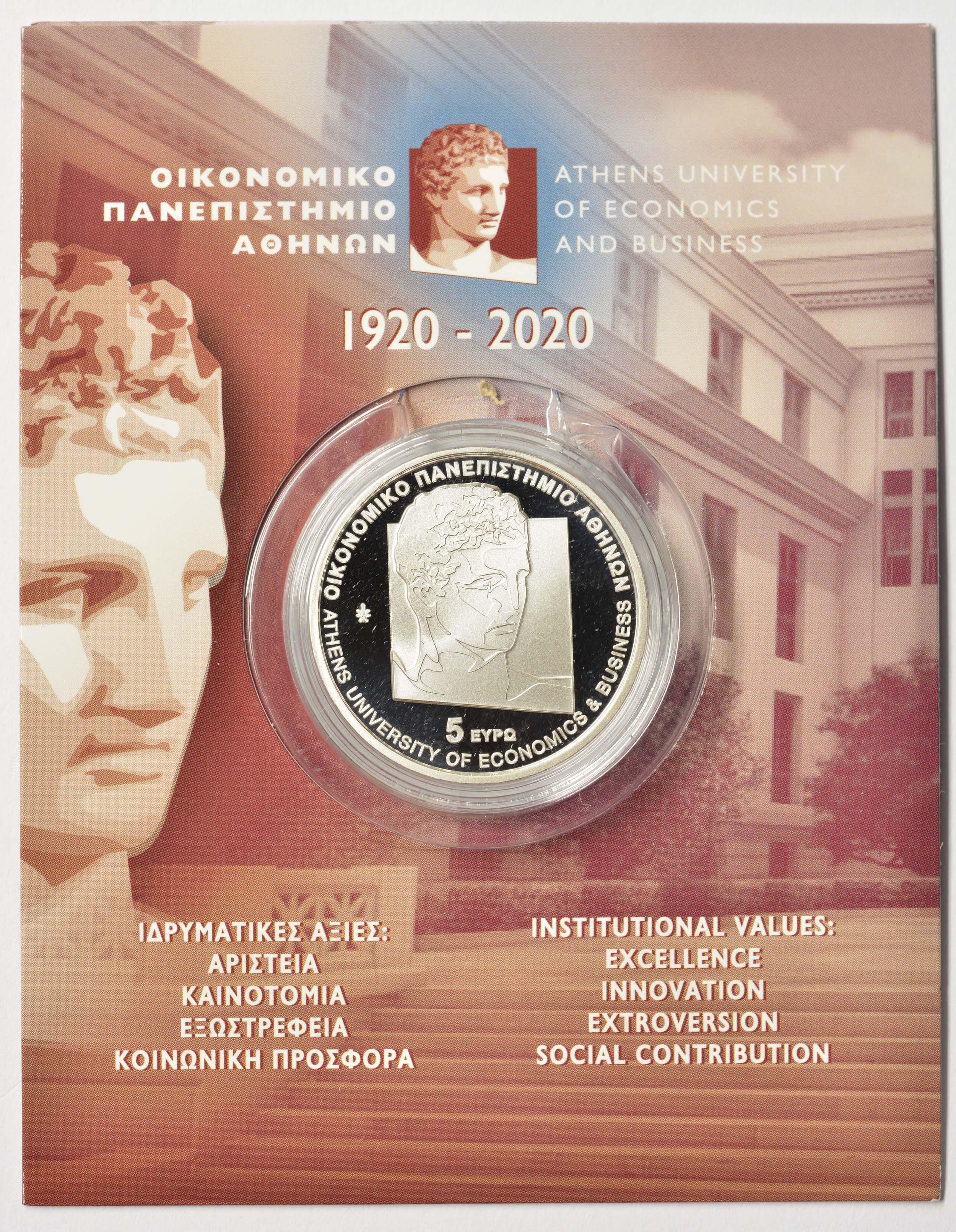 Lieferumfang:Griechenland : 5 Euro 100 Jahre Universität für Wirtschaft Athen   2020 P/L