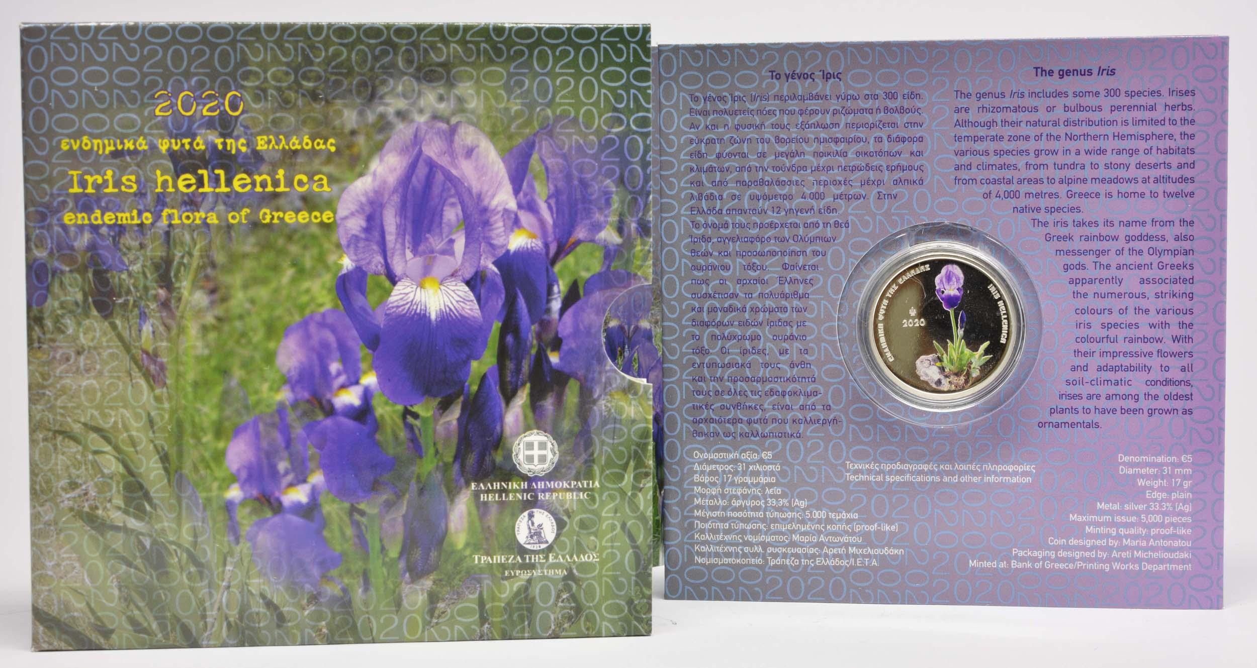 Lieferumfang:Griechenland : 5 Euro Iris Hellenica coloriert  2020 P/L