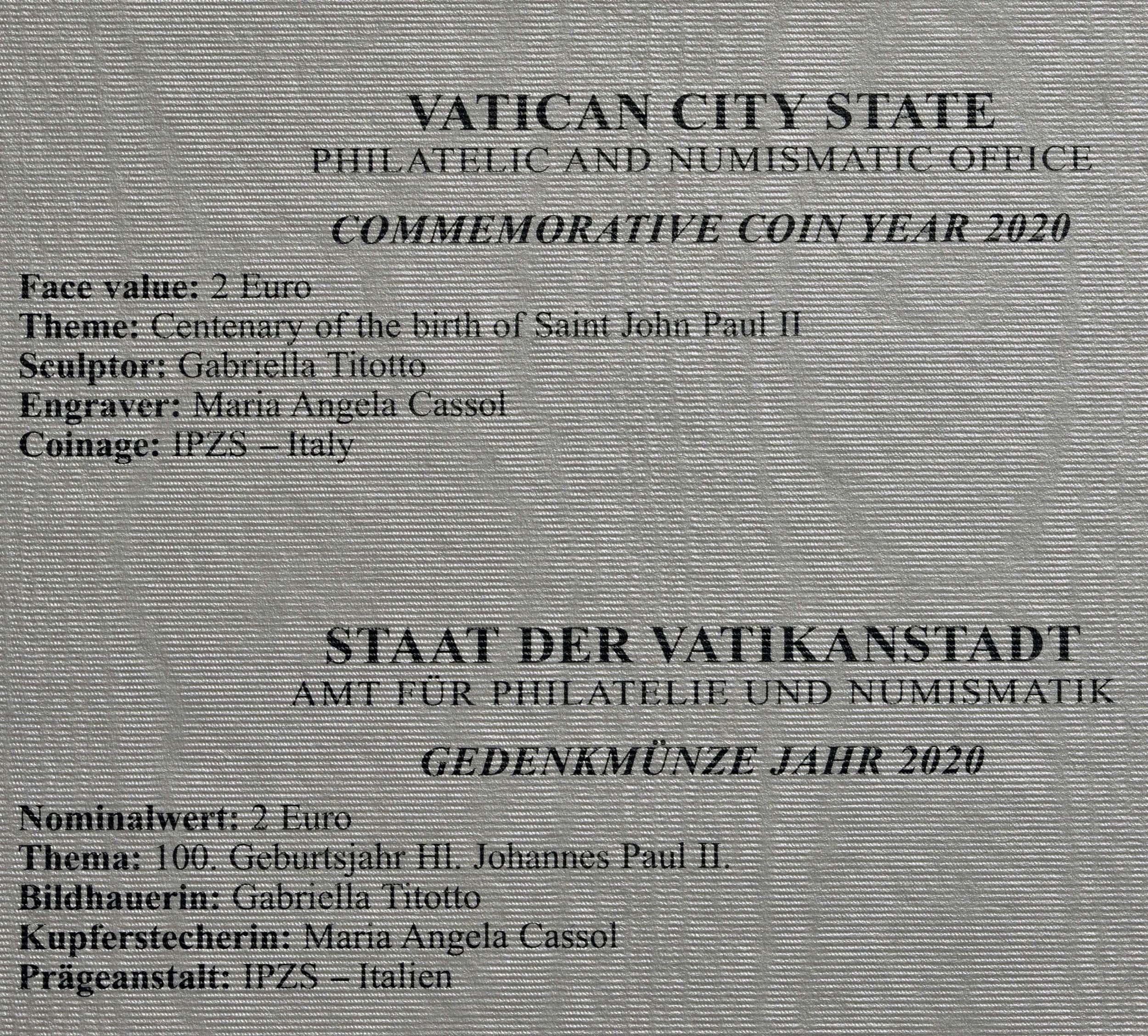 Zertifikat:Vatikan : 2 Euro 100. Geburtstag von Johannes Paul II.  2020 Stgl.