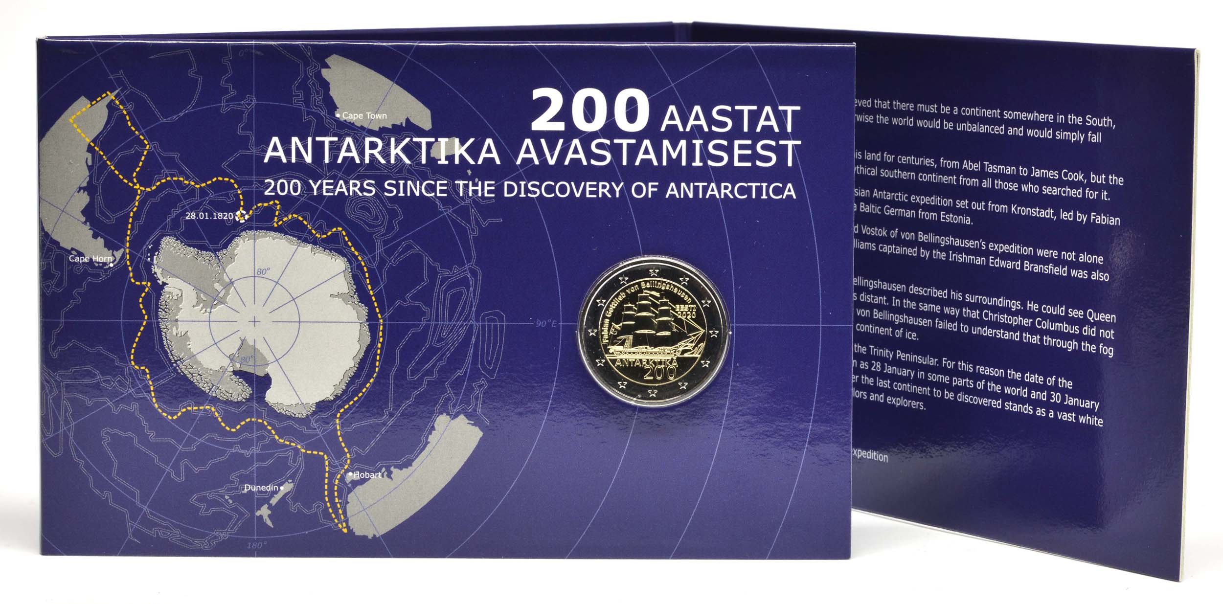 Lieferumfang:Estland : 2 Euro 200. Jahrestag der Entdeckung der Antarktis  2020 Stgl.