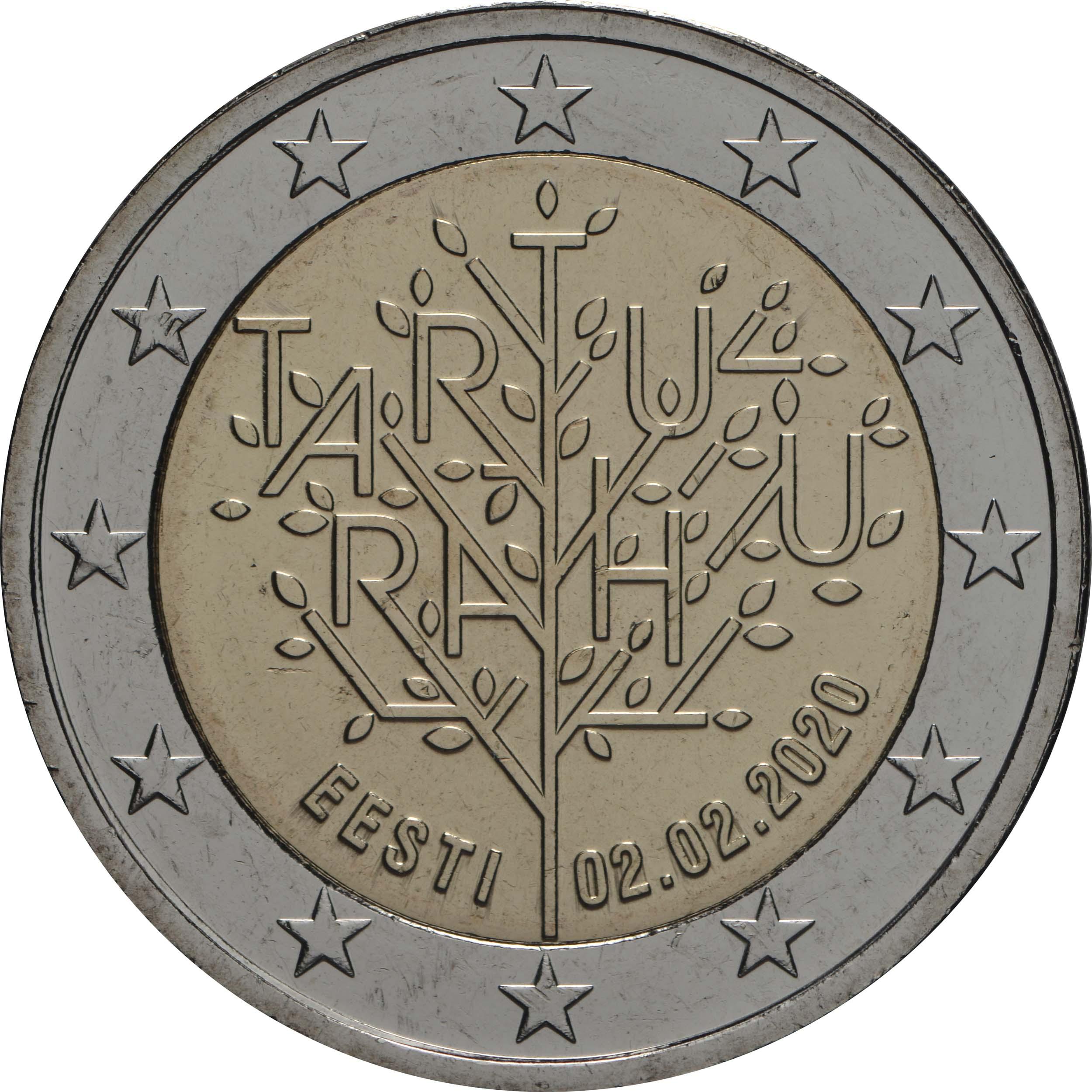 Rückseite:Estland : 2 Euro 100 Jahre Friedensvertrag von Tartu  2020 bfr