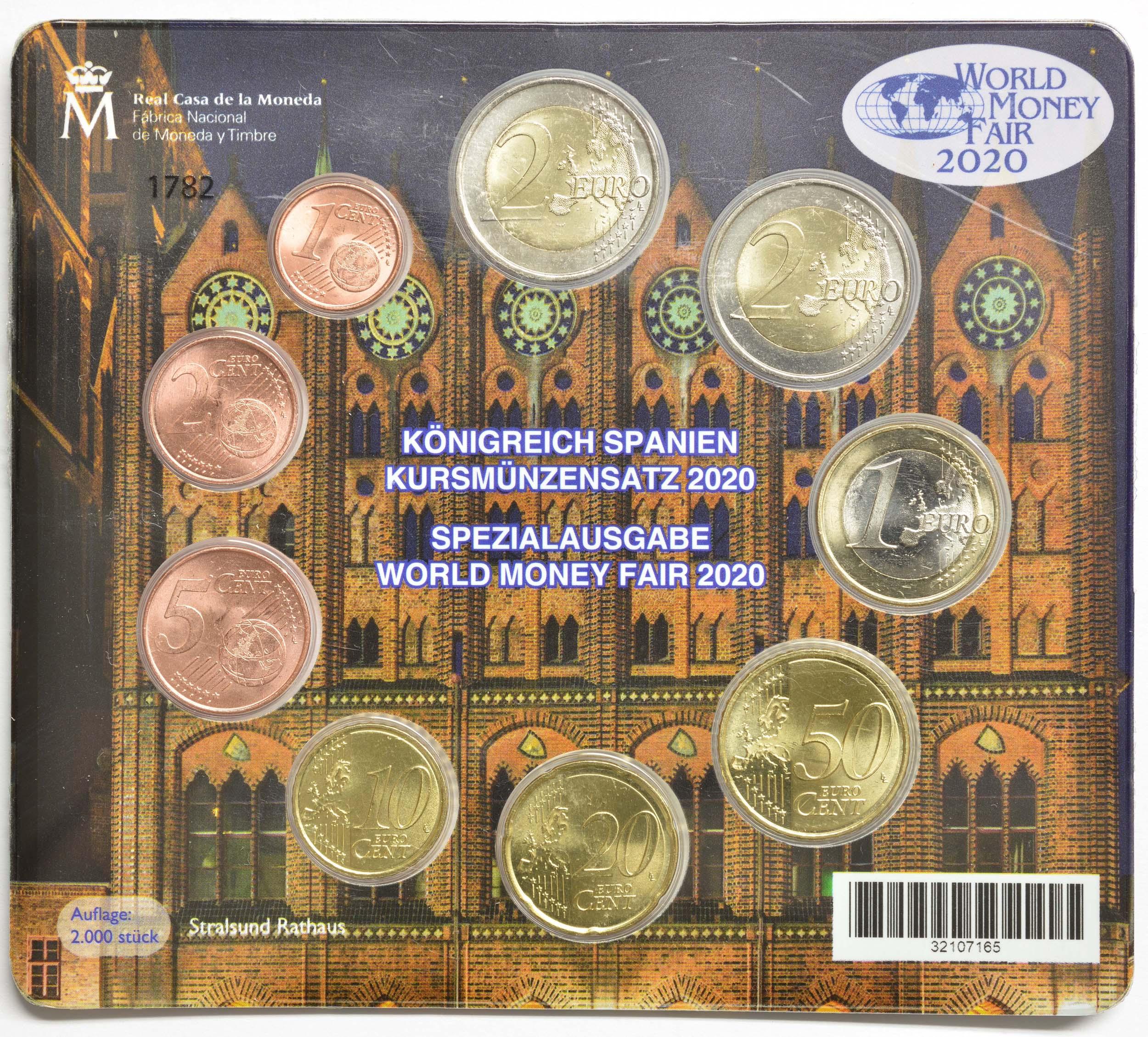 Lieferumfang:Spanien : 5,88 Euro KMS Spanien World Money Fair Berlin inkl. 2 Euro Gedenkmünze  2020 Stgl.