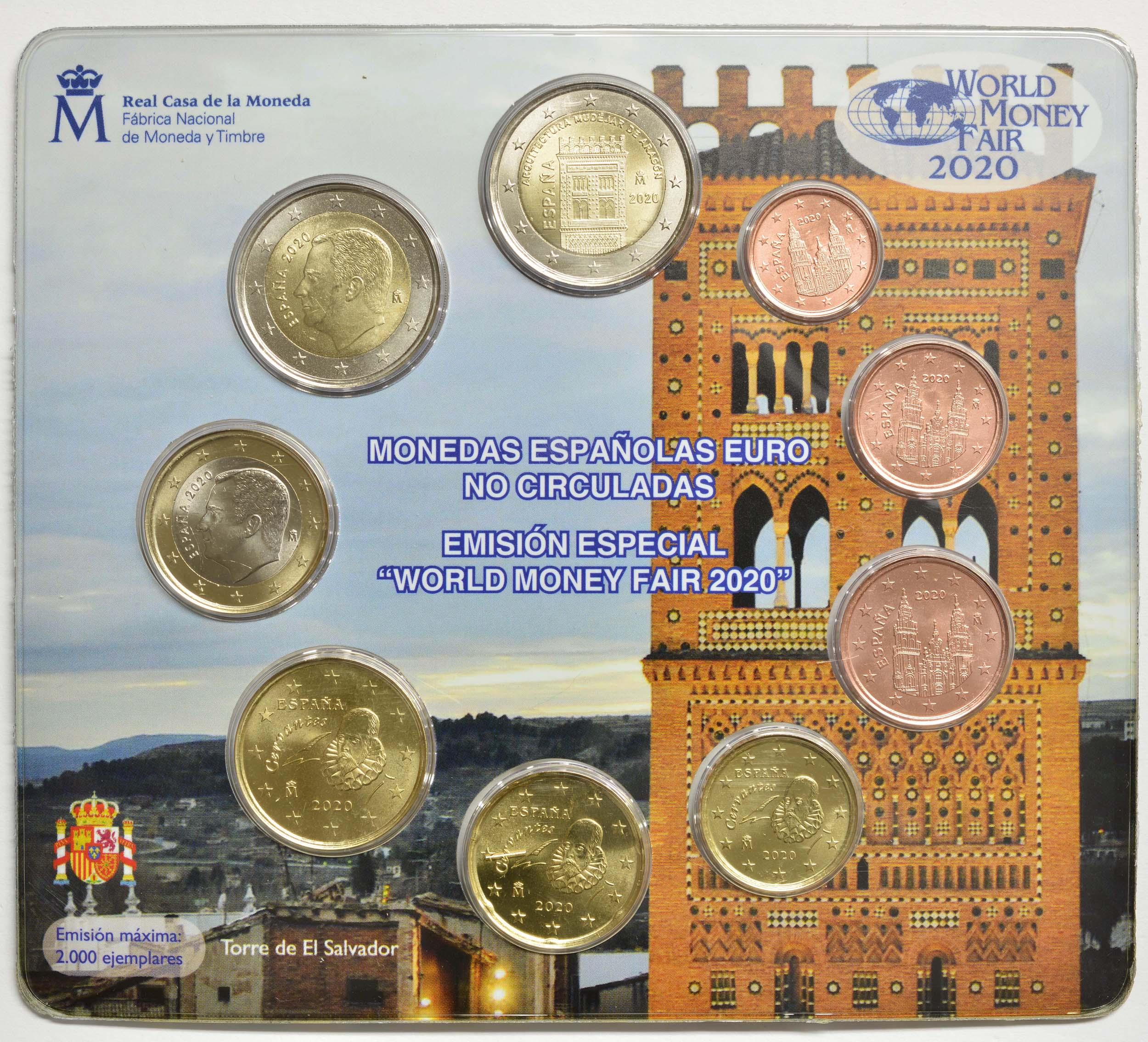 Zertifikat:Spanien : 5,88 Euro KMS Spanien World Money Fair Berlin inkl. 2 Euro Gedenkmünze  2020 Stgl.