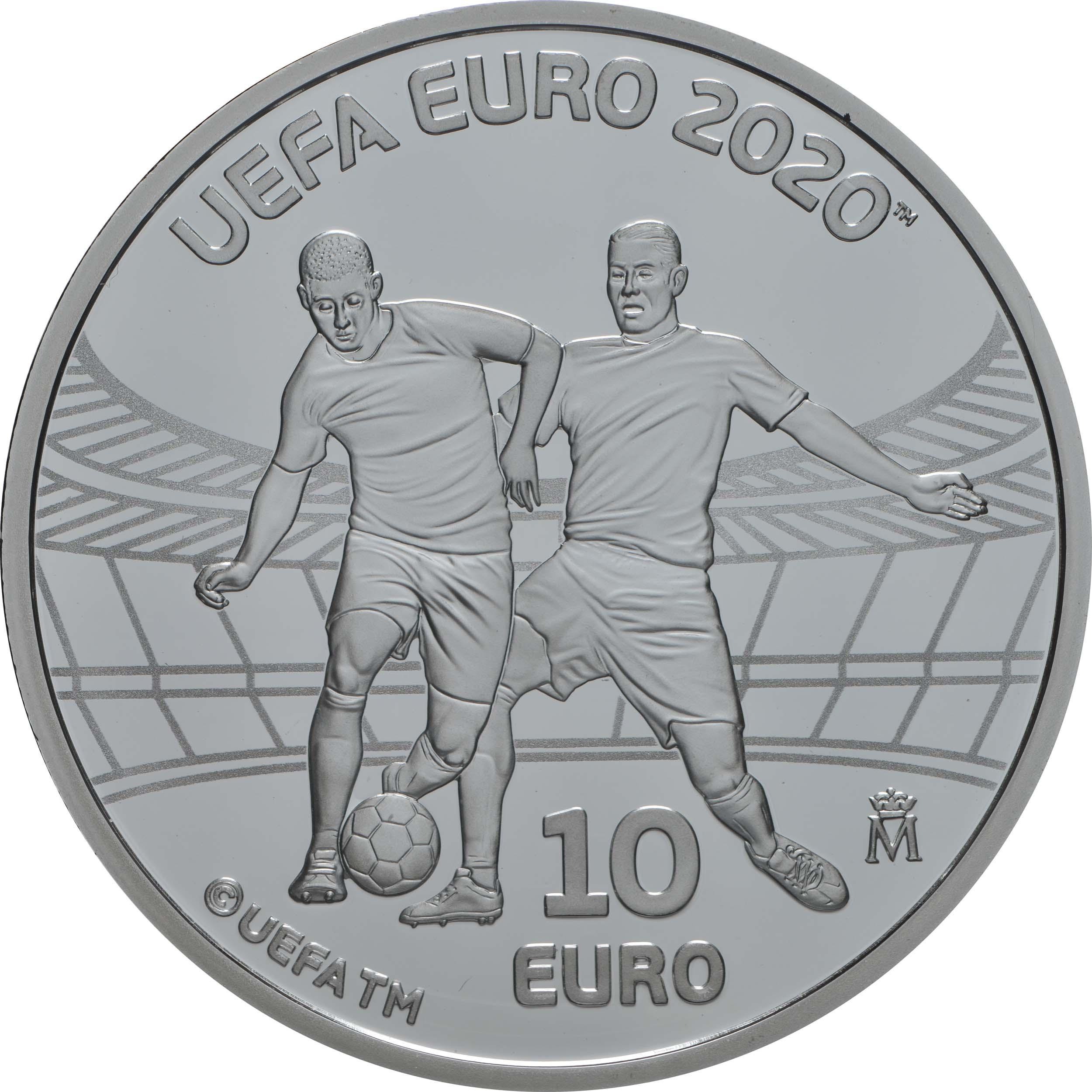 Vorderseite:Spanien : 10 Euro UEFA - Fußball EM 2020  2020 PP