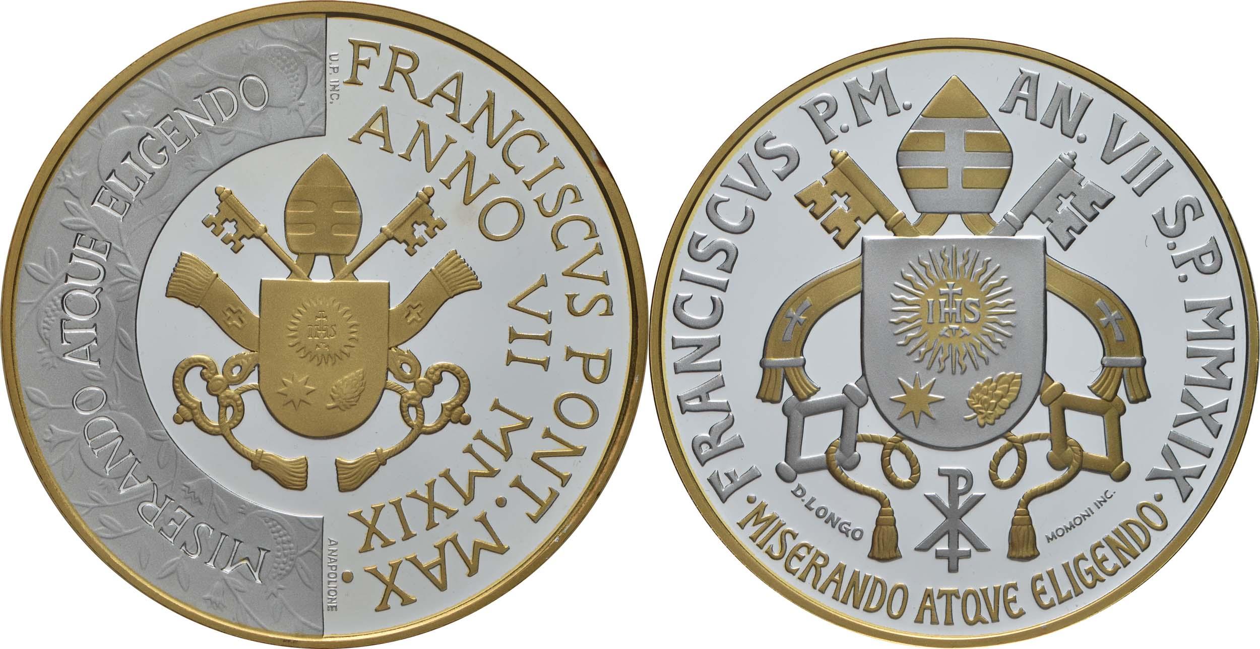 Rückseite:Vatikan : 5+10 Euro 5 Euro Circolo San Pietro und 10 Euro Weltfriedenstag  2019 PP