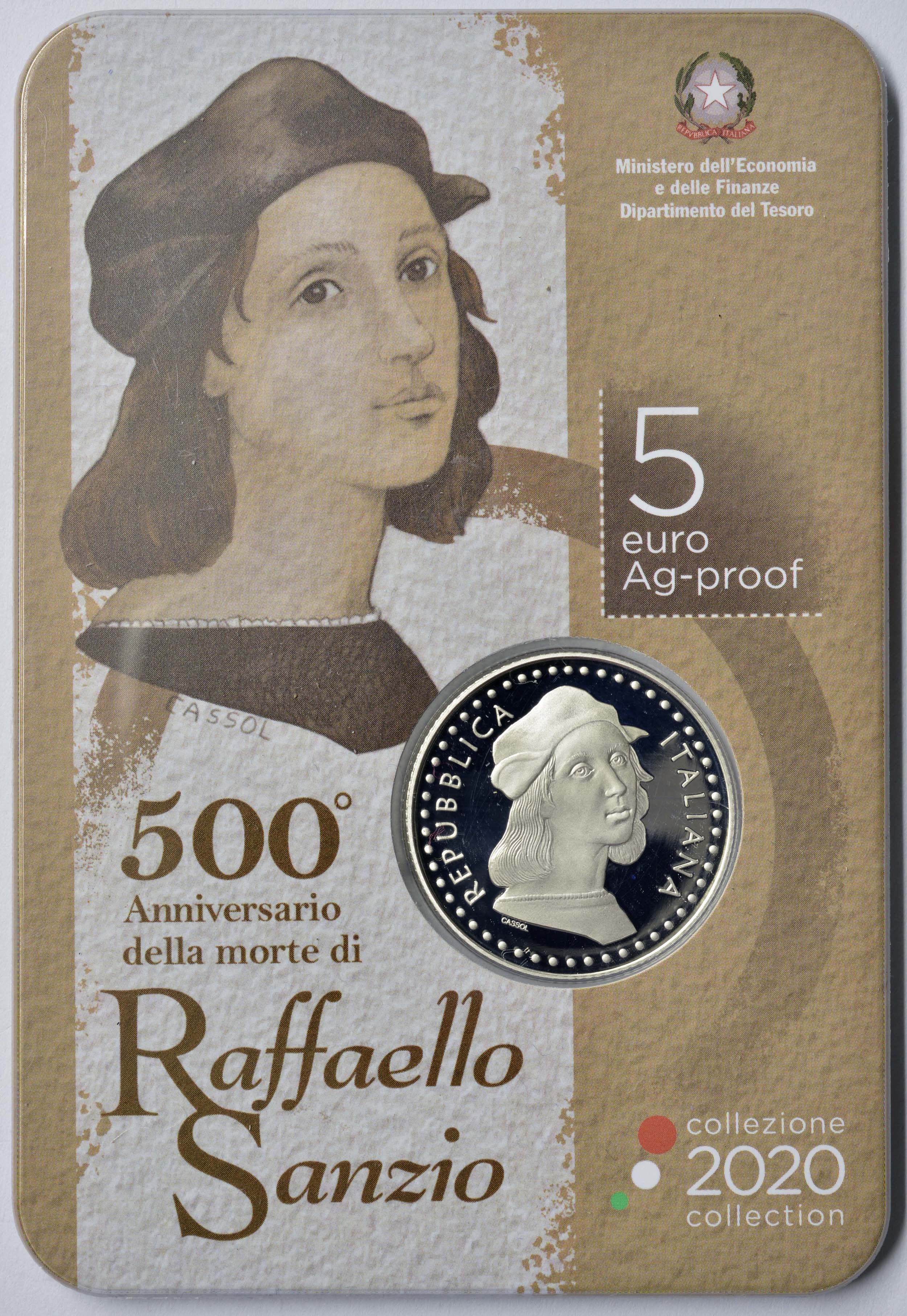 Lieferumfang:Italien : 5 Euro 500 Jahre Raphael   2020 PP