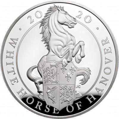 Lieferumfang:Großbritannien : 10 Pound The Queen´s Beasts #8 - Weißes Pferd von Hannover 5 oz  2020 PP