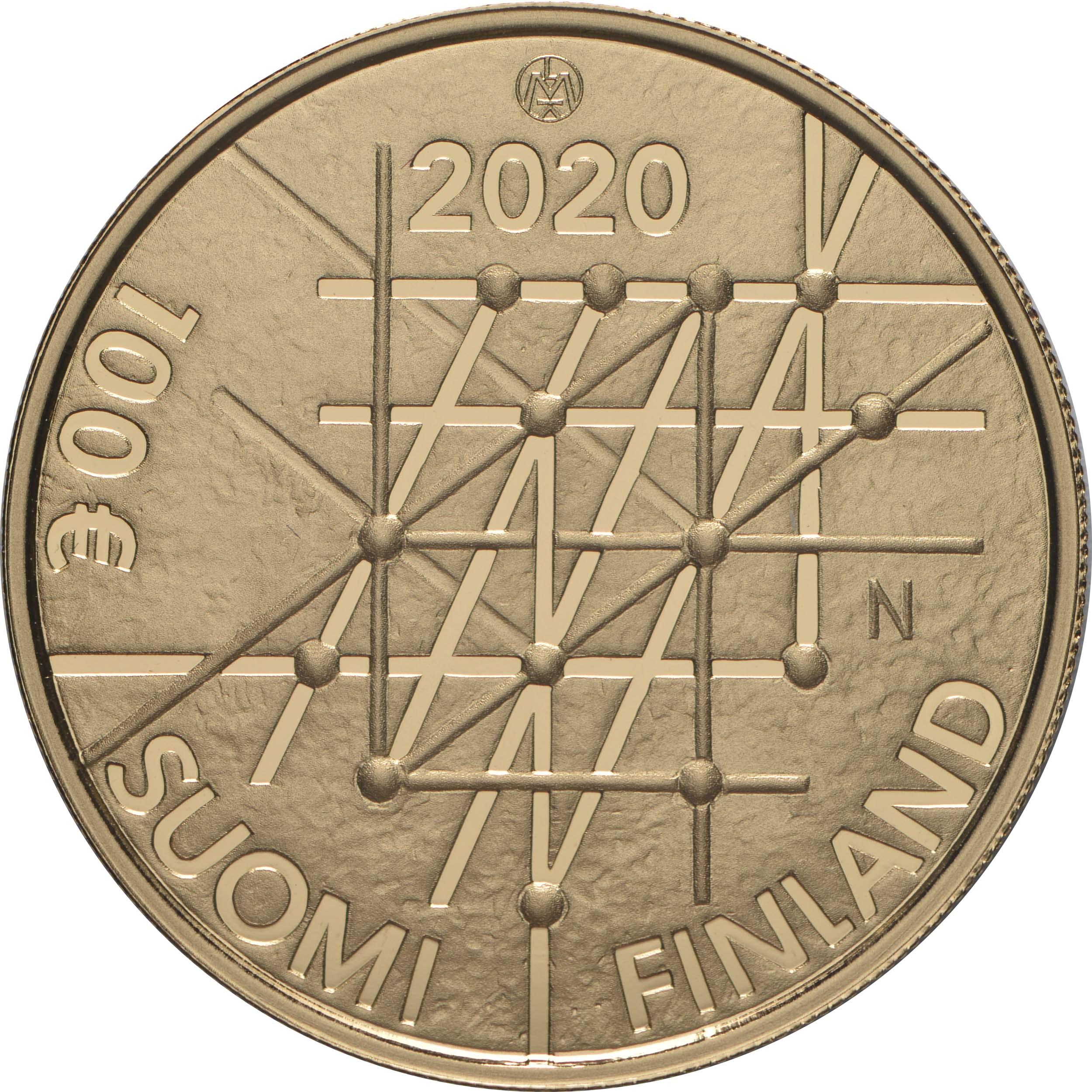 Rückseite:Finnland : 100 Euro 100 Jahre Universität Turku   2020 PP