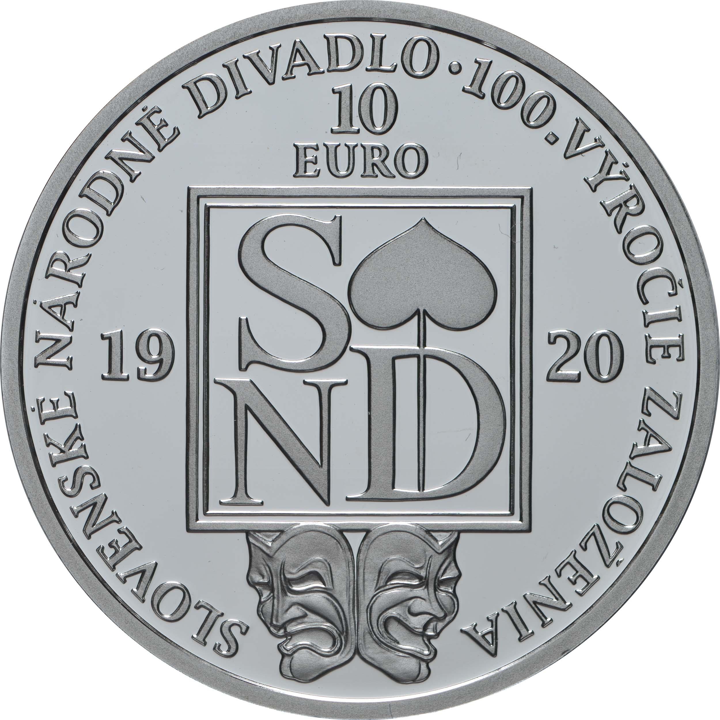 Rückseite:Slowakei : 10 Euro 100 Jahre Slowakisches Nationaltheater  2020 PP
