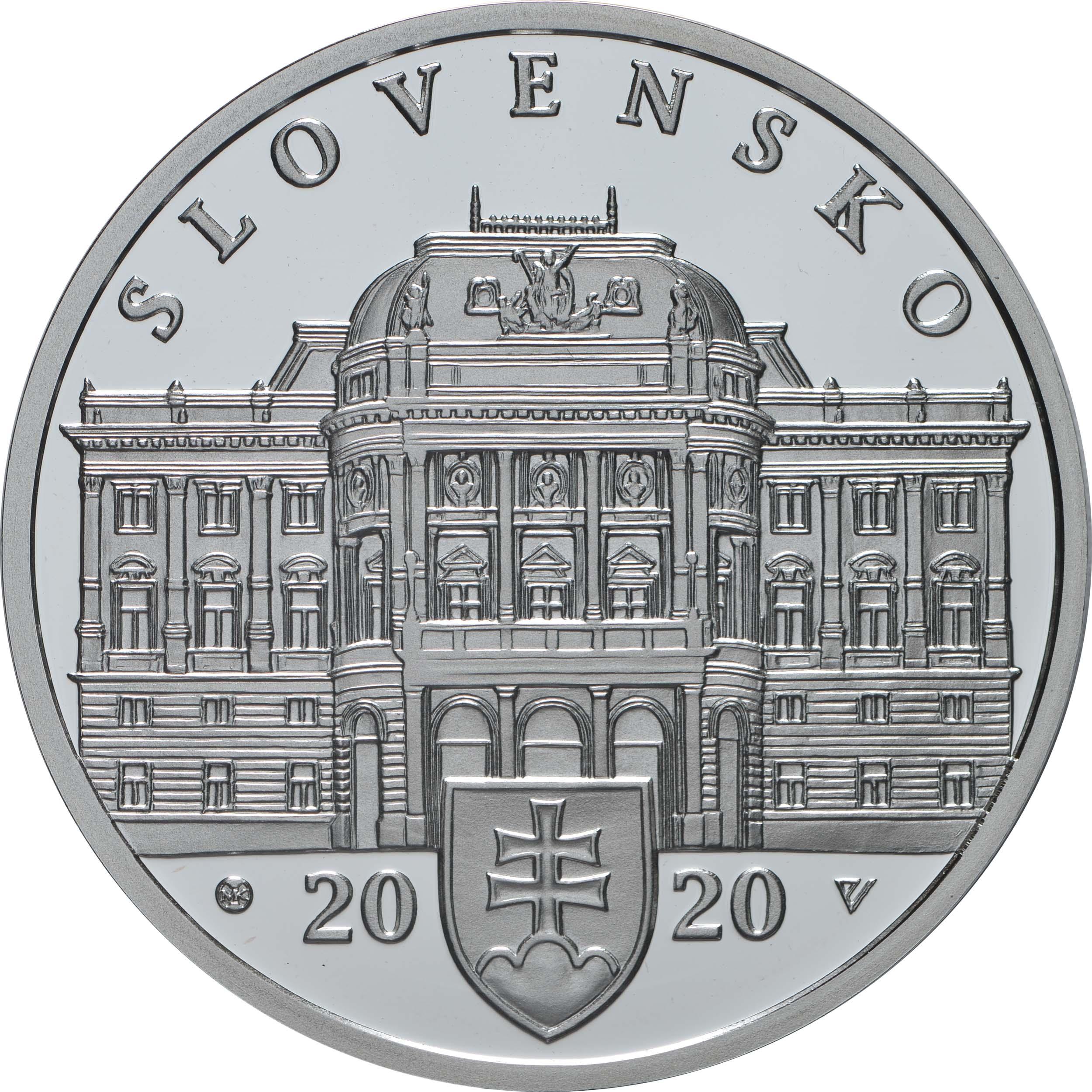 Vorderseite:Slowakei : 10 Euro 100 Jahre Slowakisches Nationaltheater  2020 PP
