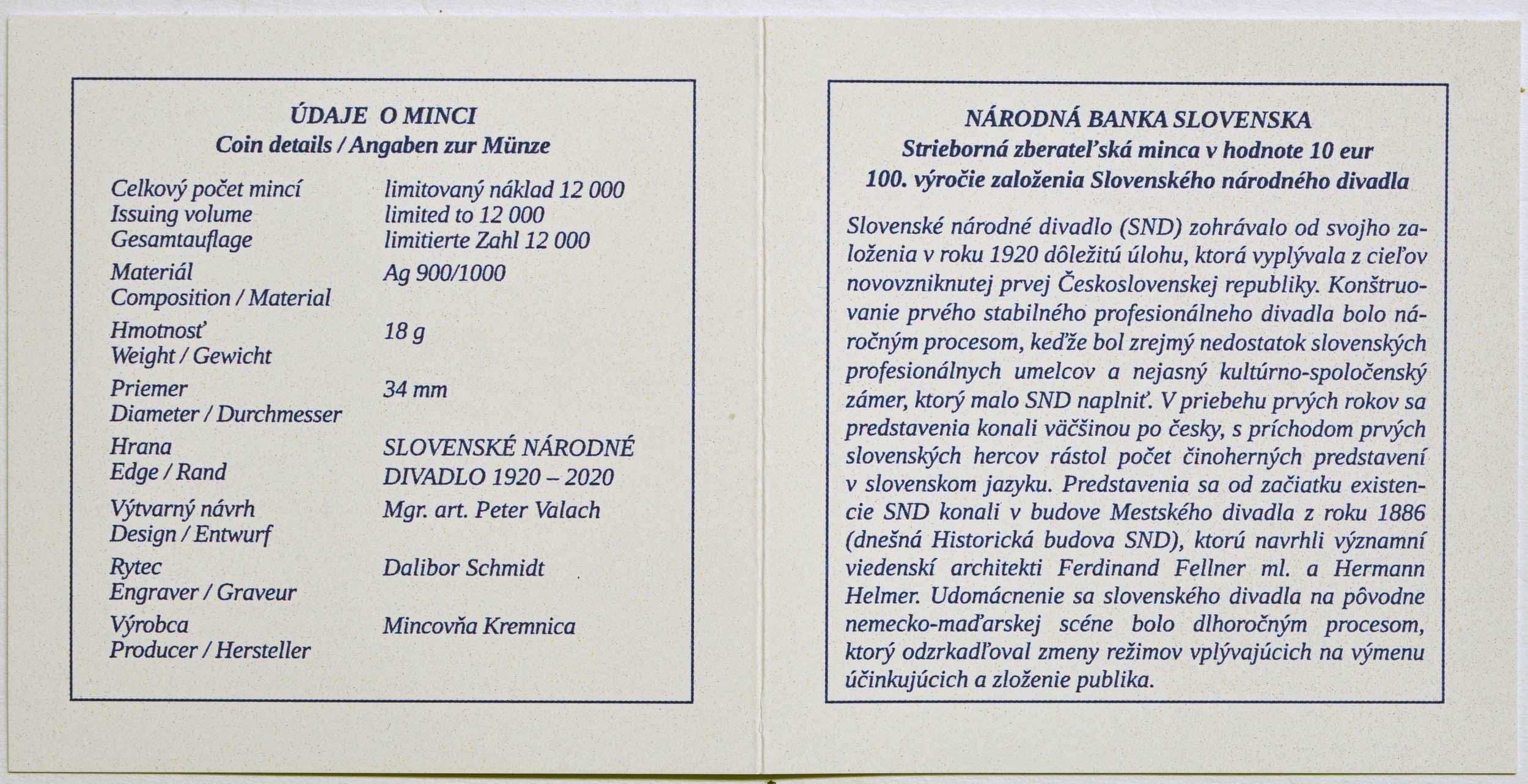 Zertifikat:Slowakei : 10 Euro 100 Jahre Slowakisches Nationaltheater  2020 PP