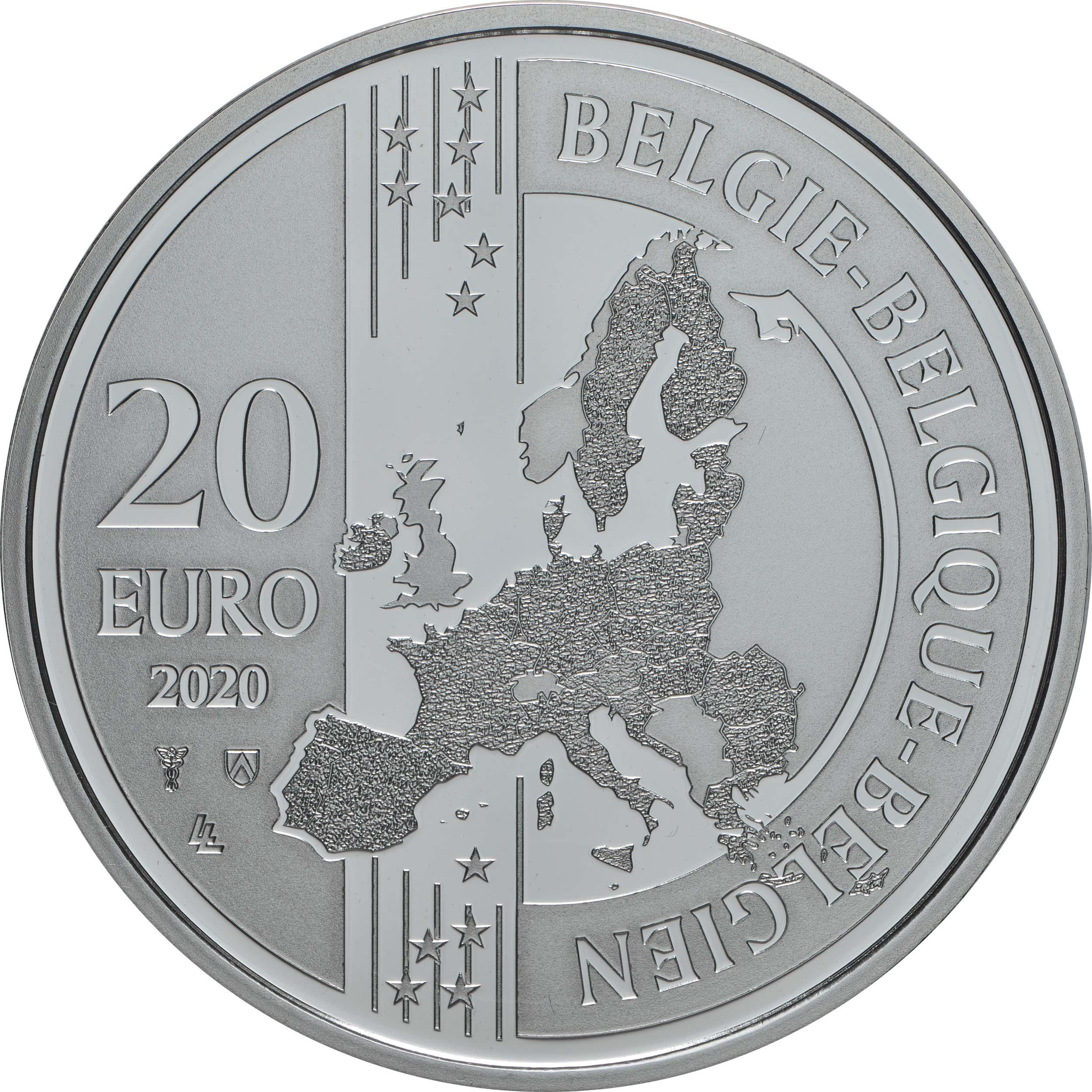 Rückseite:Belgien : 20 Euro Historisches Stadtzentrum von Brügge  UNESCO  2020 PP