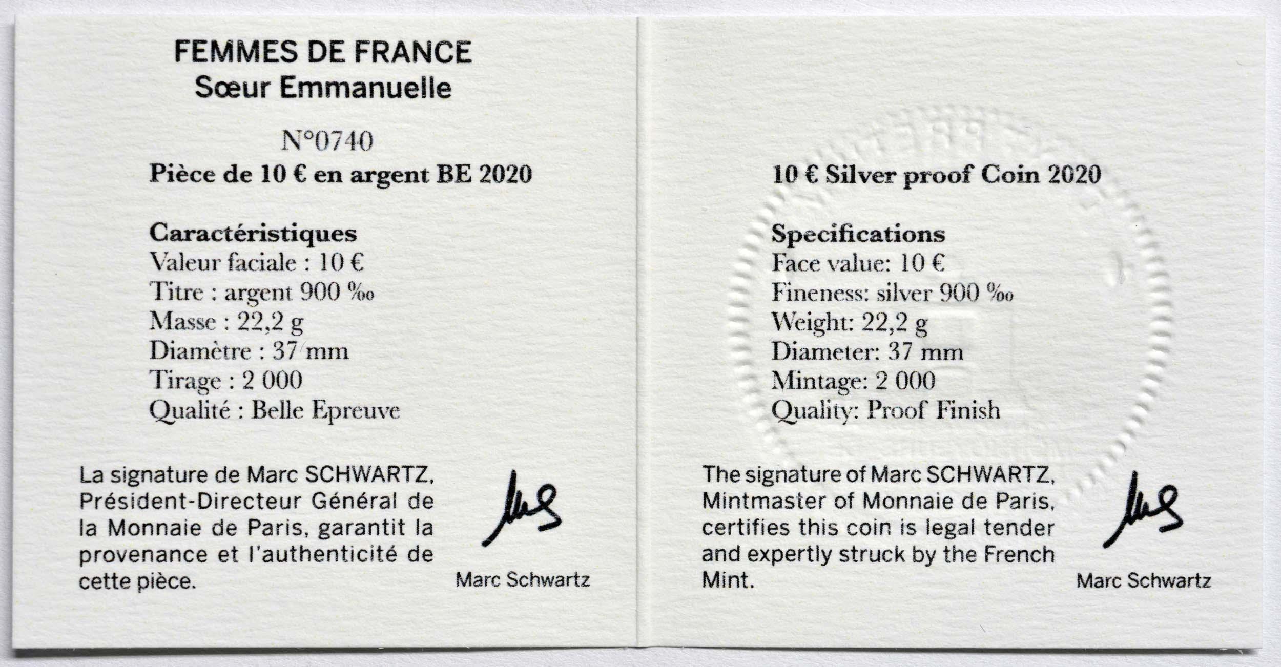 Zertifikat:Frankreich : 10 Euro Schwester Emmanuelle  2020 PP