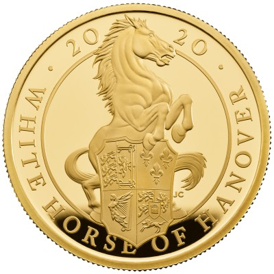 Lieferumfang:Großbritannien : 500 Pound The Queen's Beast - White Horse of Hanover 5 Oz  2020 PP