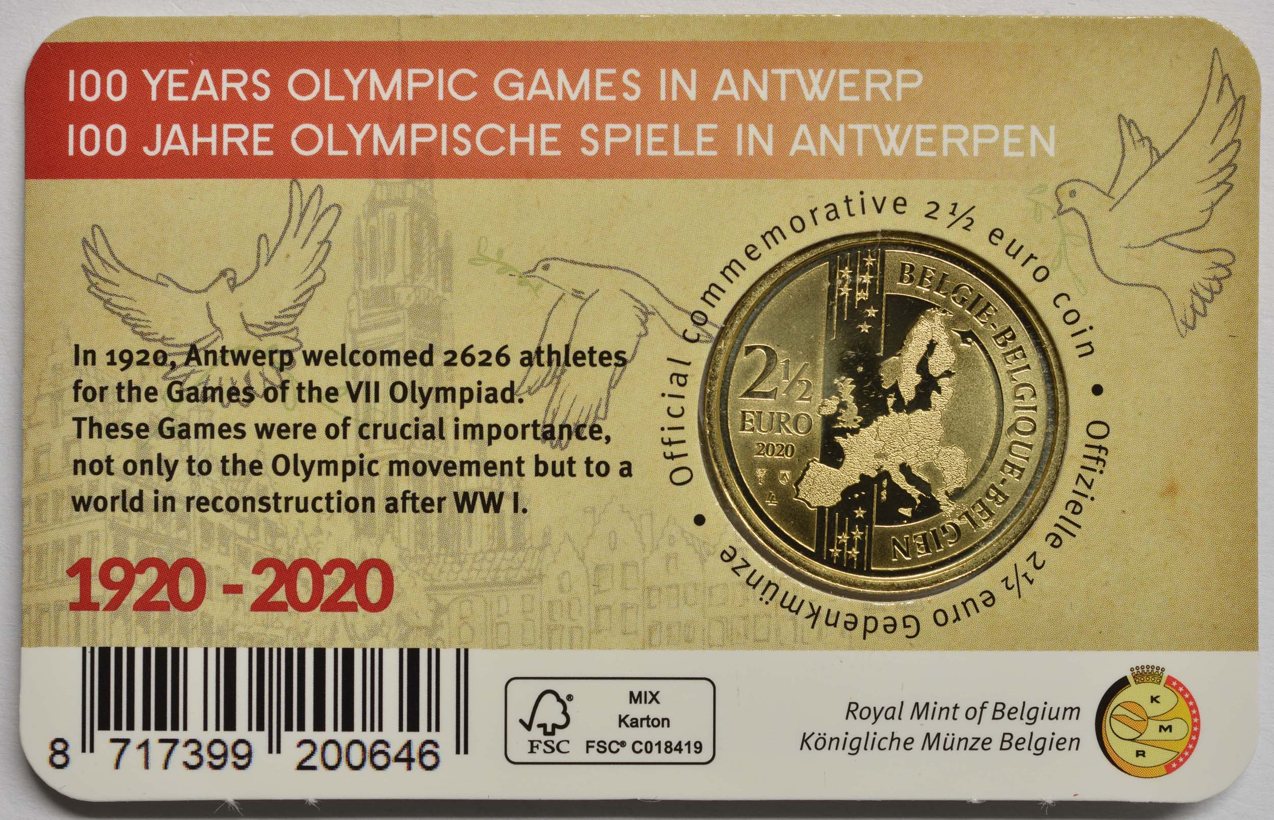 Zertifikat:Belgien : 2,5 Euro 100 Jahre Olympische Spiele Antwerpen  2020 Stgl.