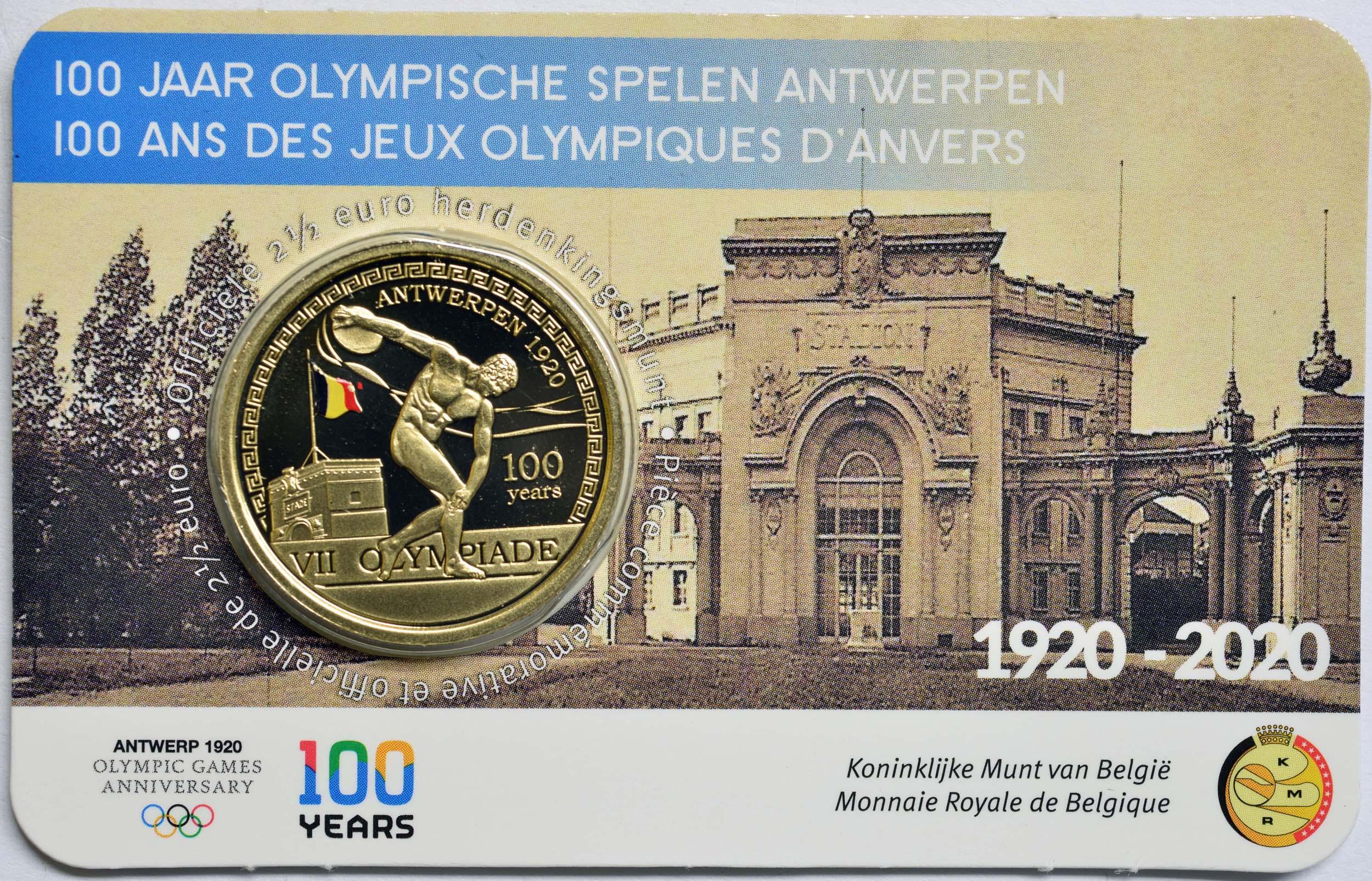 Lieferumfang:Belgien : 2,5 Euro 100 Jahre Olympische Spiele Antwerpen coloriert  2020 Stgl.