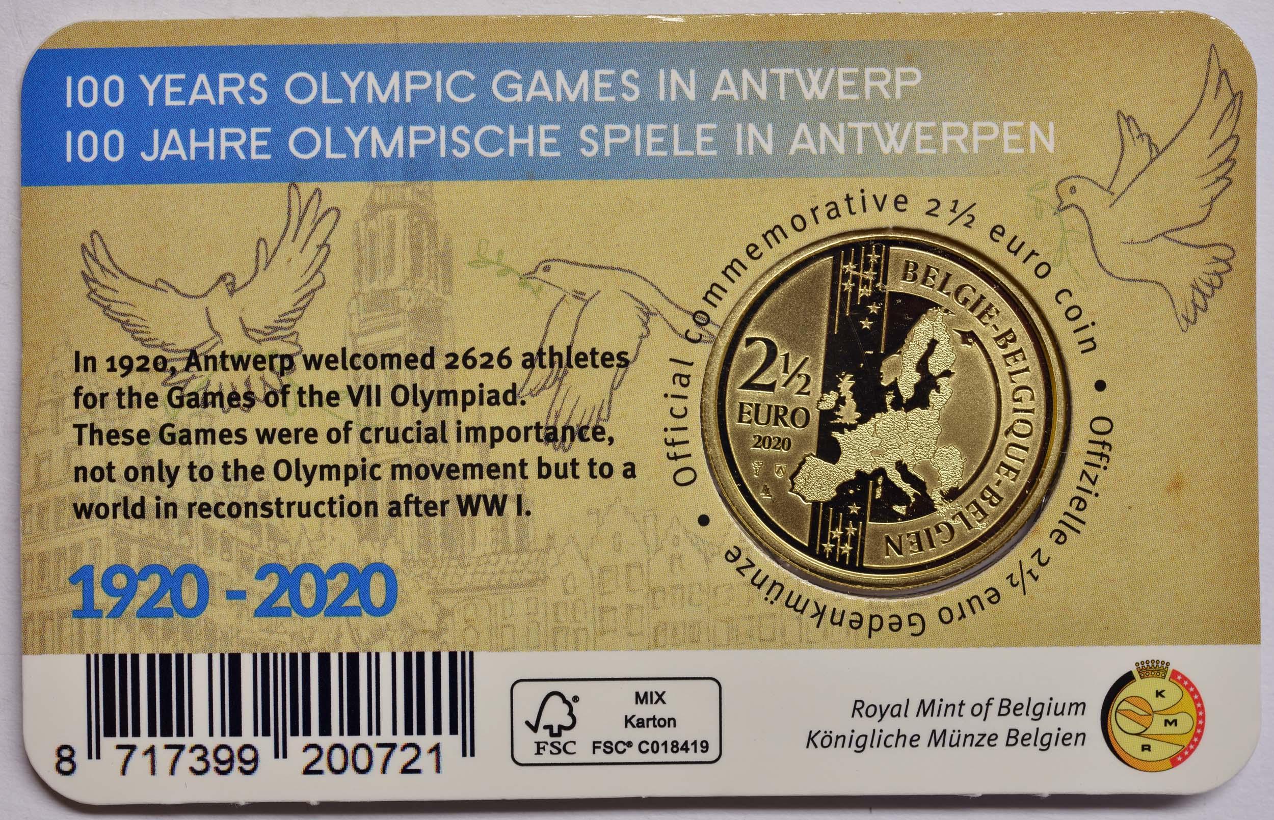 Zertifikat:Belgien : 2,5 Euro 100 Jahre Olympische Spiele Antwerpen coloriert  2020 Stgl.