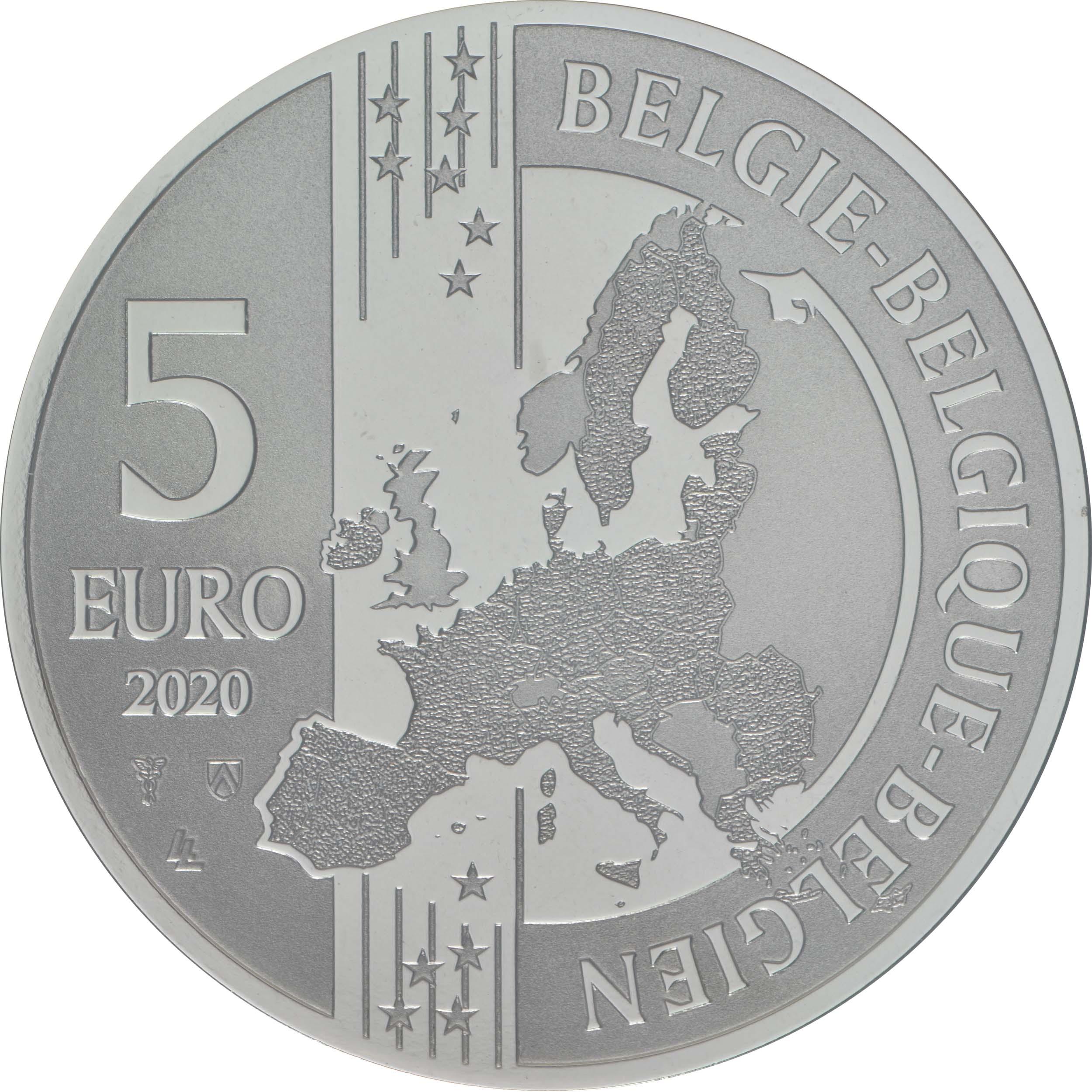 Rückseite:Belgien : 5 Euro Suske und Wiske coloriert  2020 Stgl.